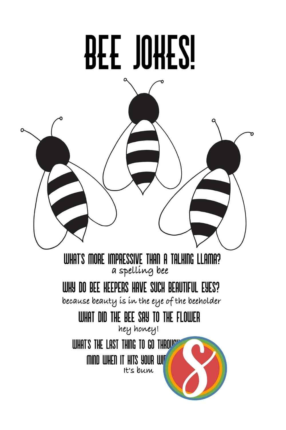 Bee jokes! A fun and free printable page with colorable bees and silly bee jokes from Stevie Doodles. Print and color free today from Stevie Doodles