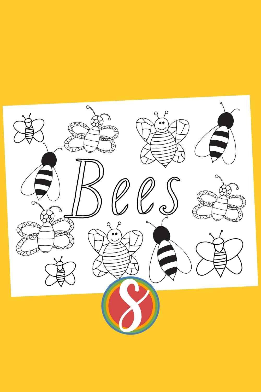 """BEES! Free bees coloring page from Stevie Doodles - """"Bees"""" the word surrounded by a bunch of cute bees to color - print and color free today"""