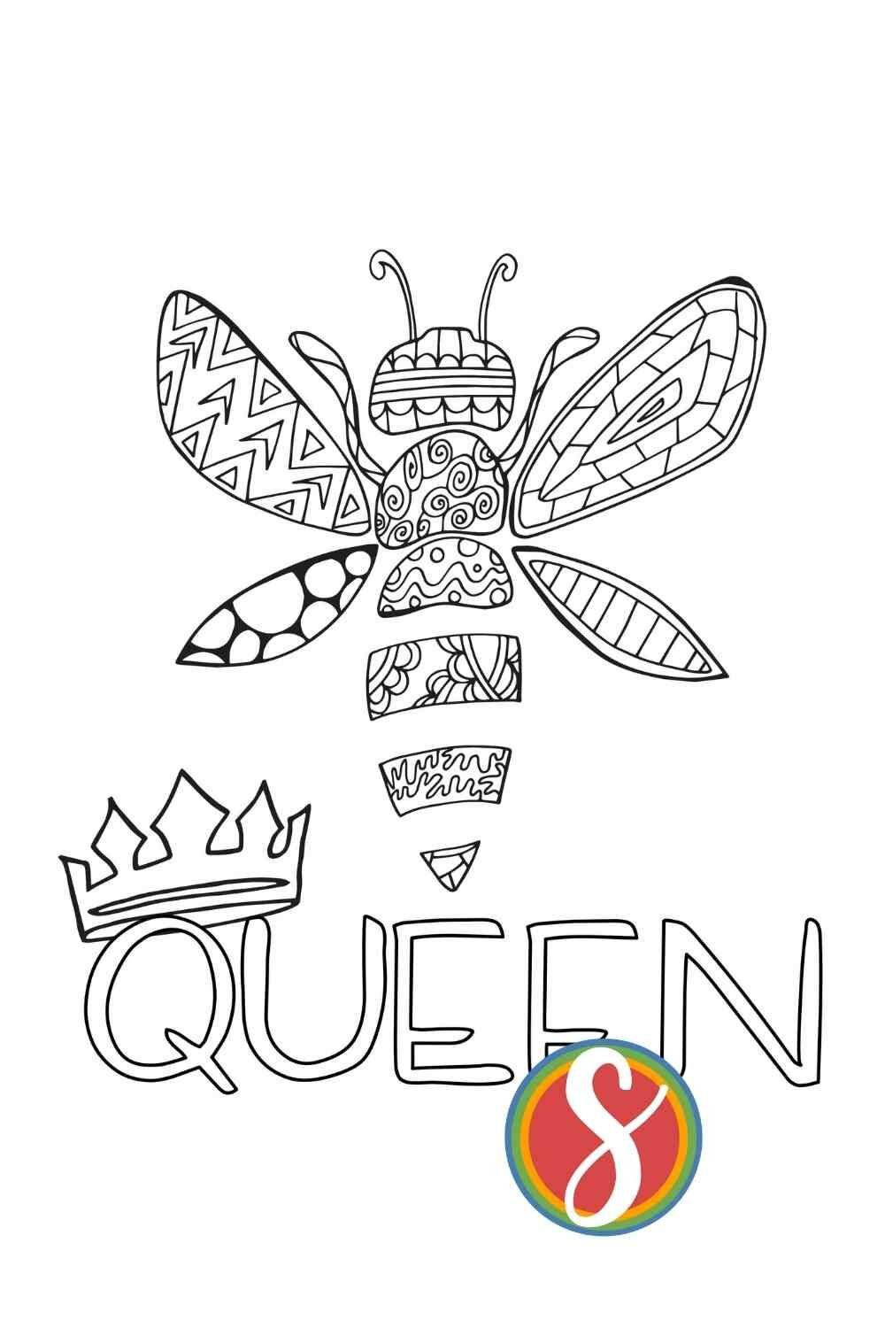 Free queen bee coloring page from Stevie Doodles - print and color this queen bee page today totally free + find a bunch of other free cute bee coloring sheets to enjoy
