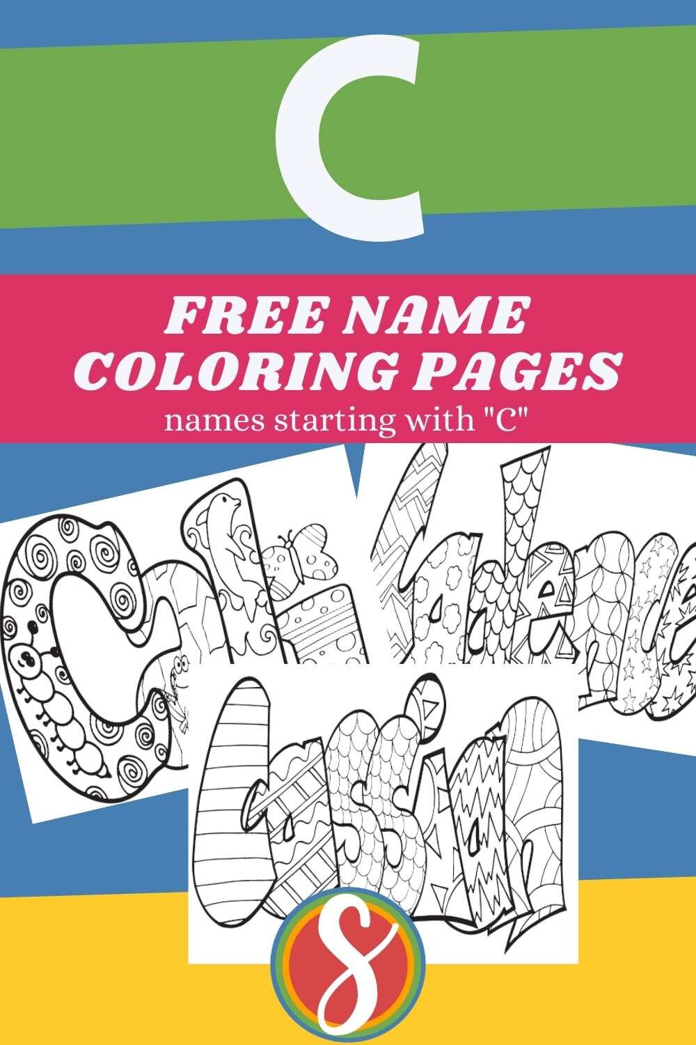 """Free printable name coloring pages! Find names beginning with """"C"""" here + browse all names by letter at Stevie Doodles"""