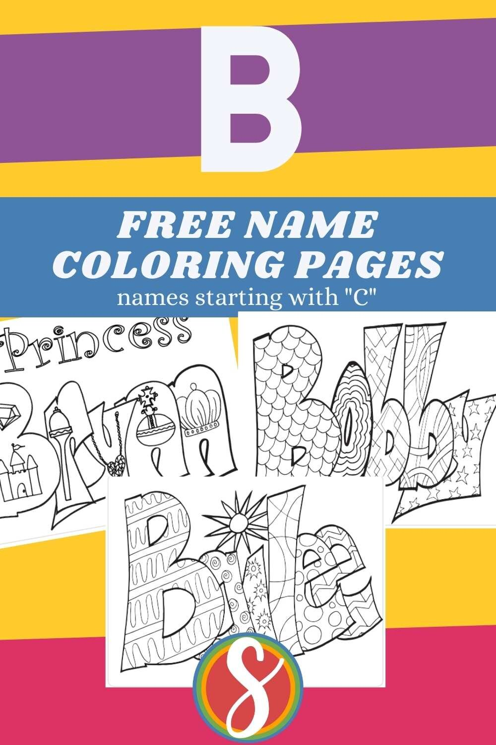 """Free printable """"starts with B"""" names to print and color from Stevie Doodles"""