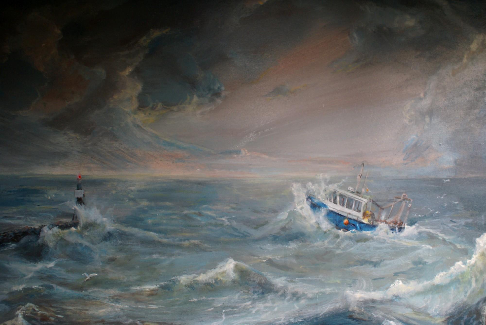 De visboot van mijn vader en broer op de Westerschelde. Schildering door P.L. Kalishoek |  Fantastic Visions