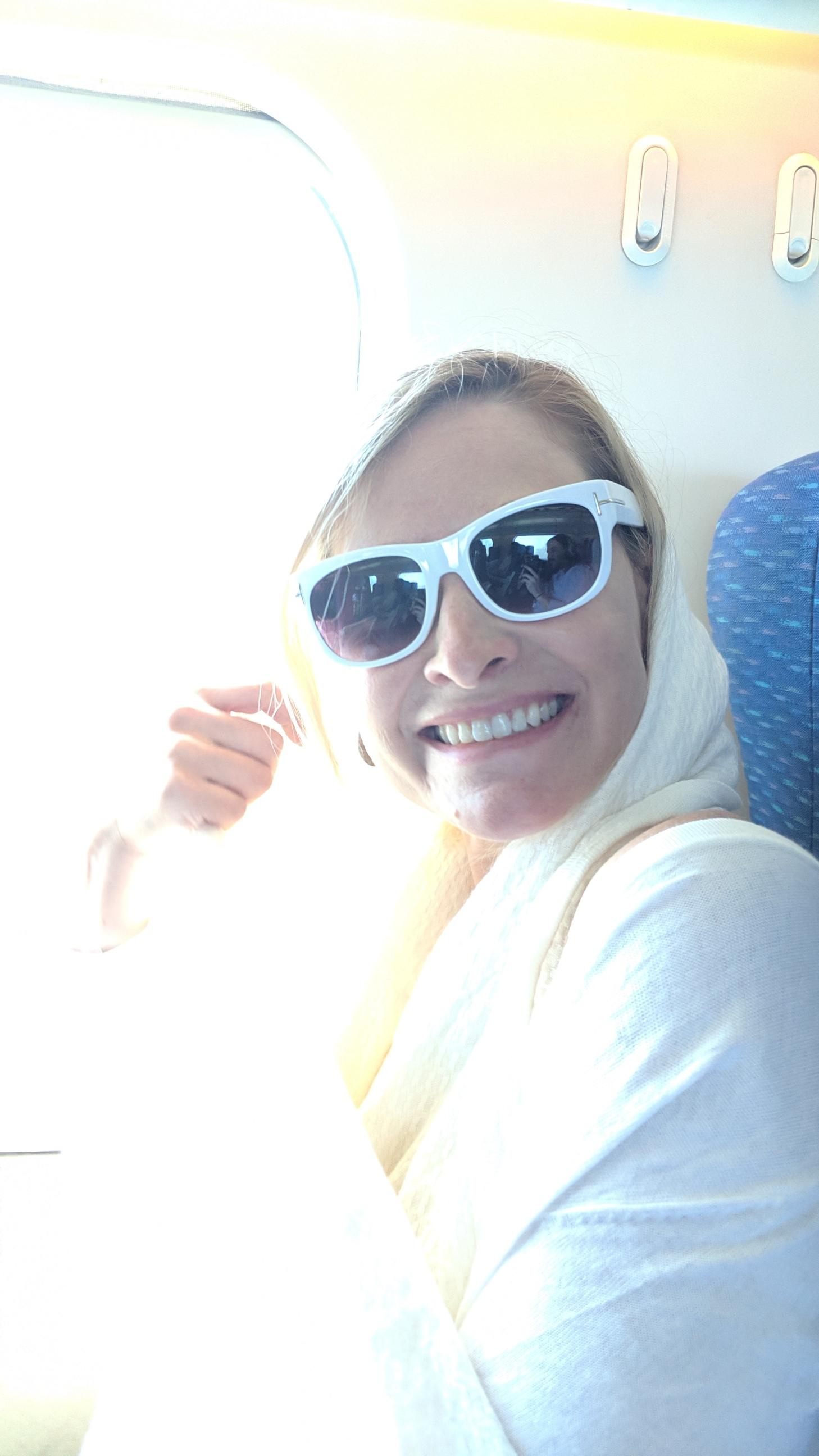 Feeling better on the train, heading toward Purgatory!