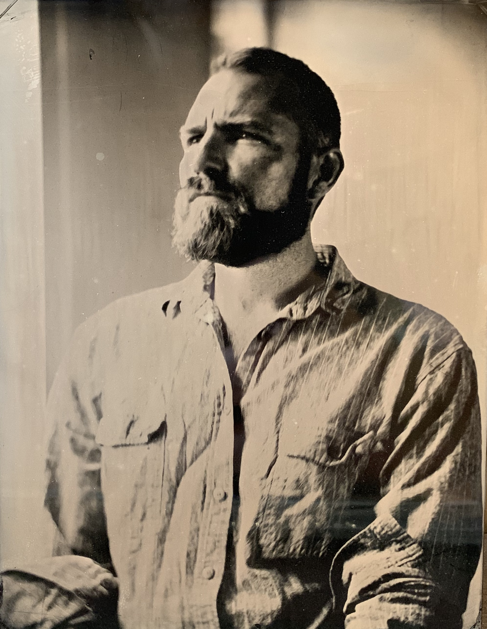 Portrait of the artist, by Craig Tuffin 2015. Tintype.