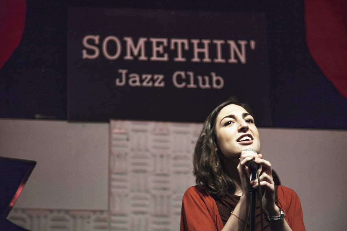 singing at Somethin' Jazz, NY