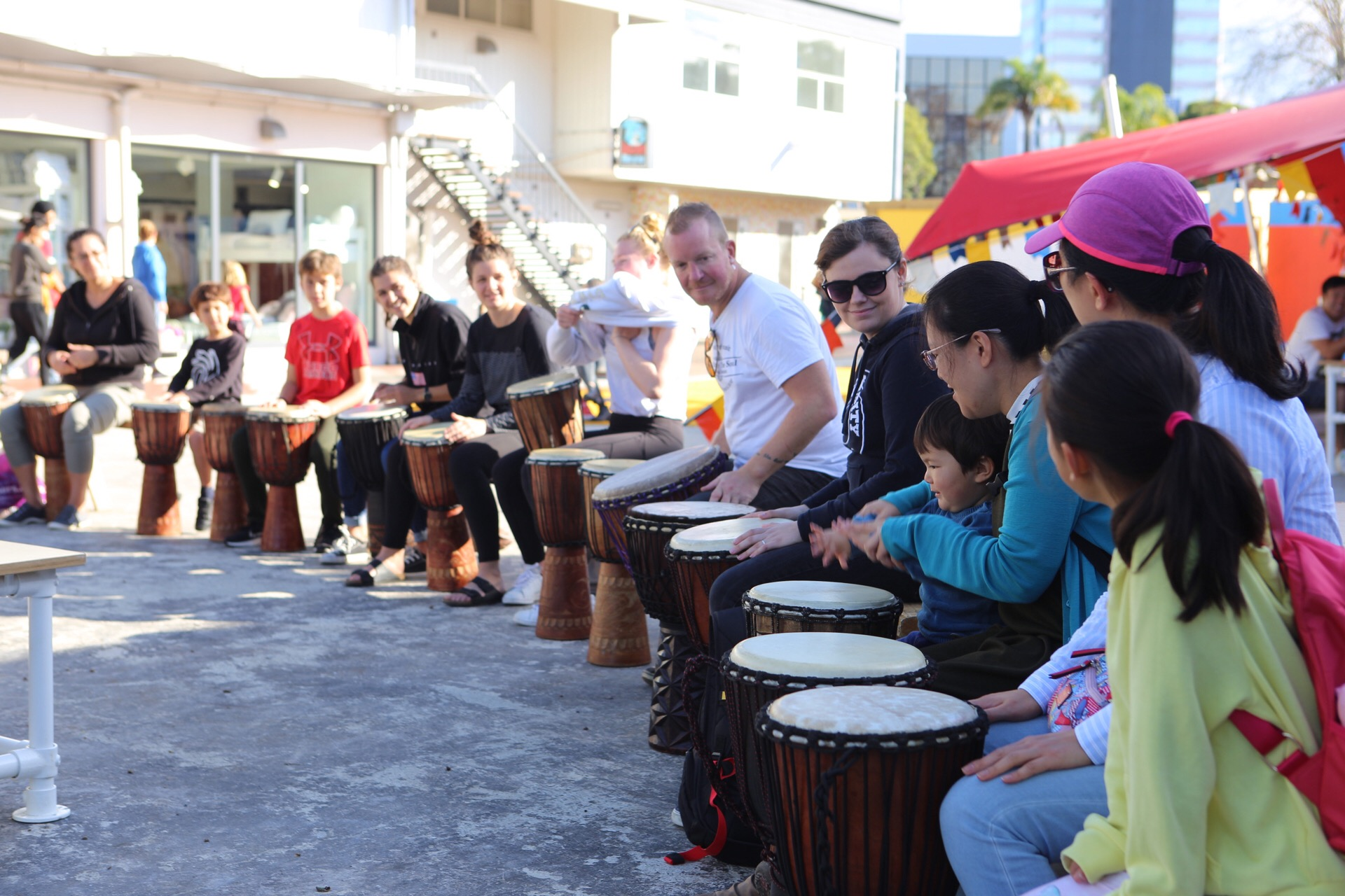 Chewy Wilson works nearby 38 Hurstmere at  PHAB . As well as his work alongside the community, he also runs  Rhythm For The Soul . Chewy had us drumming, dancing, playing and exploring connection through drumming together on a sunny afternoon.