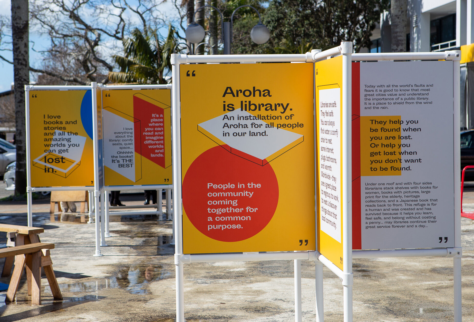New signage for our We Love Libraries exhibition with  Takapuna Library ..