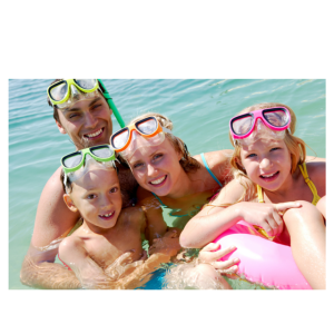family with goggles swimming