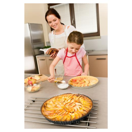 mom and girl baking