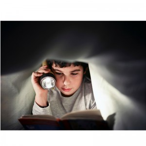 Boy reading with flashlight