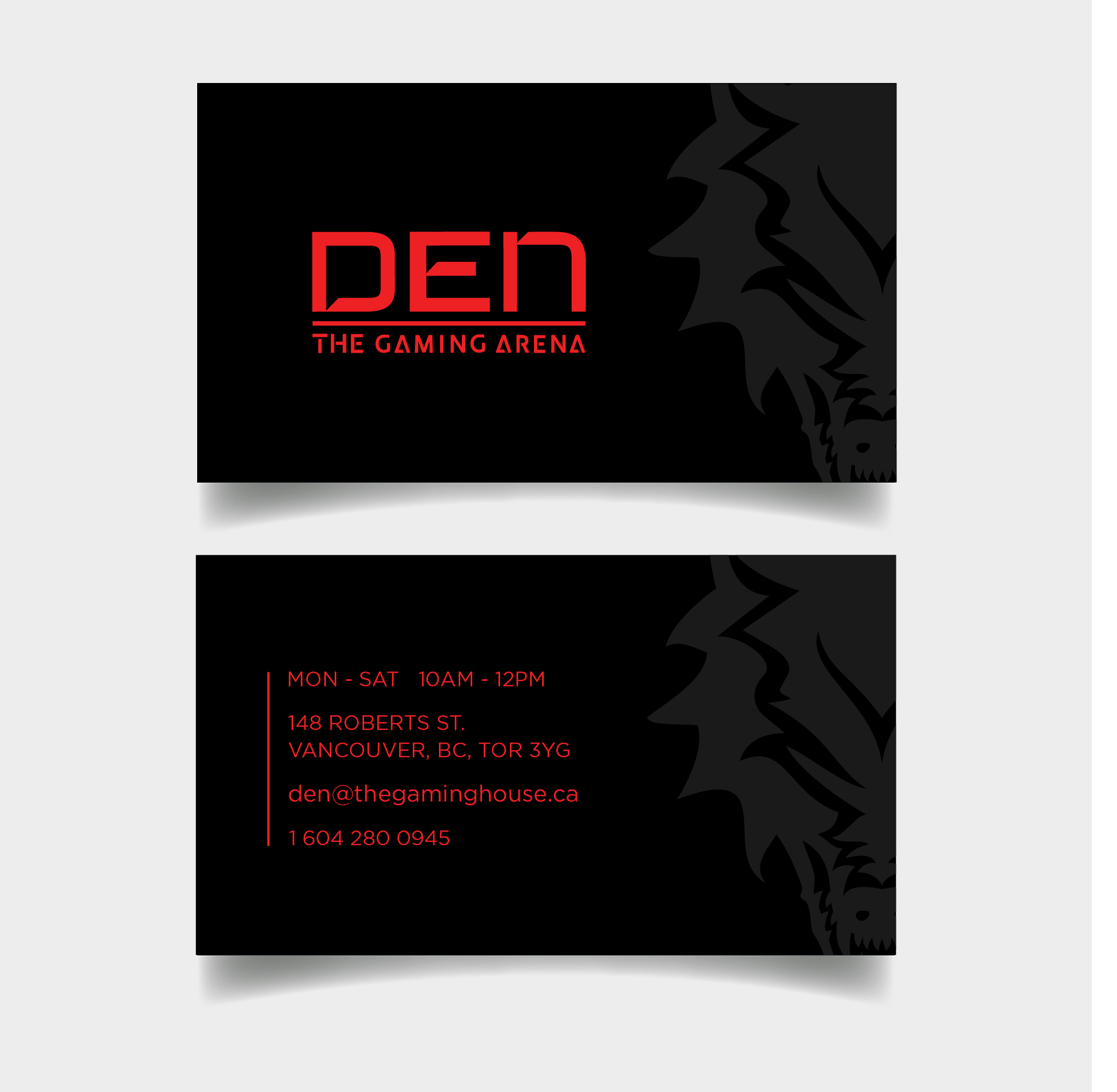 BUSINESS Card - Slate on pitch, the design is meant to be stark in contrast to the red of the type.