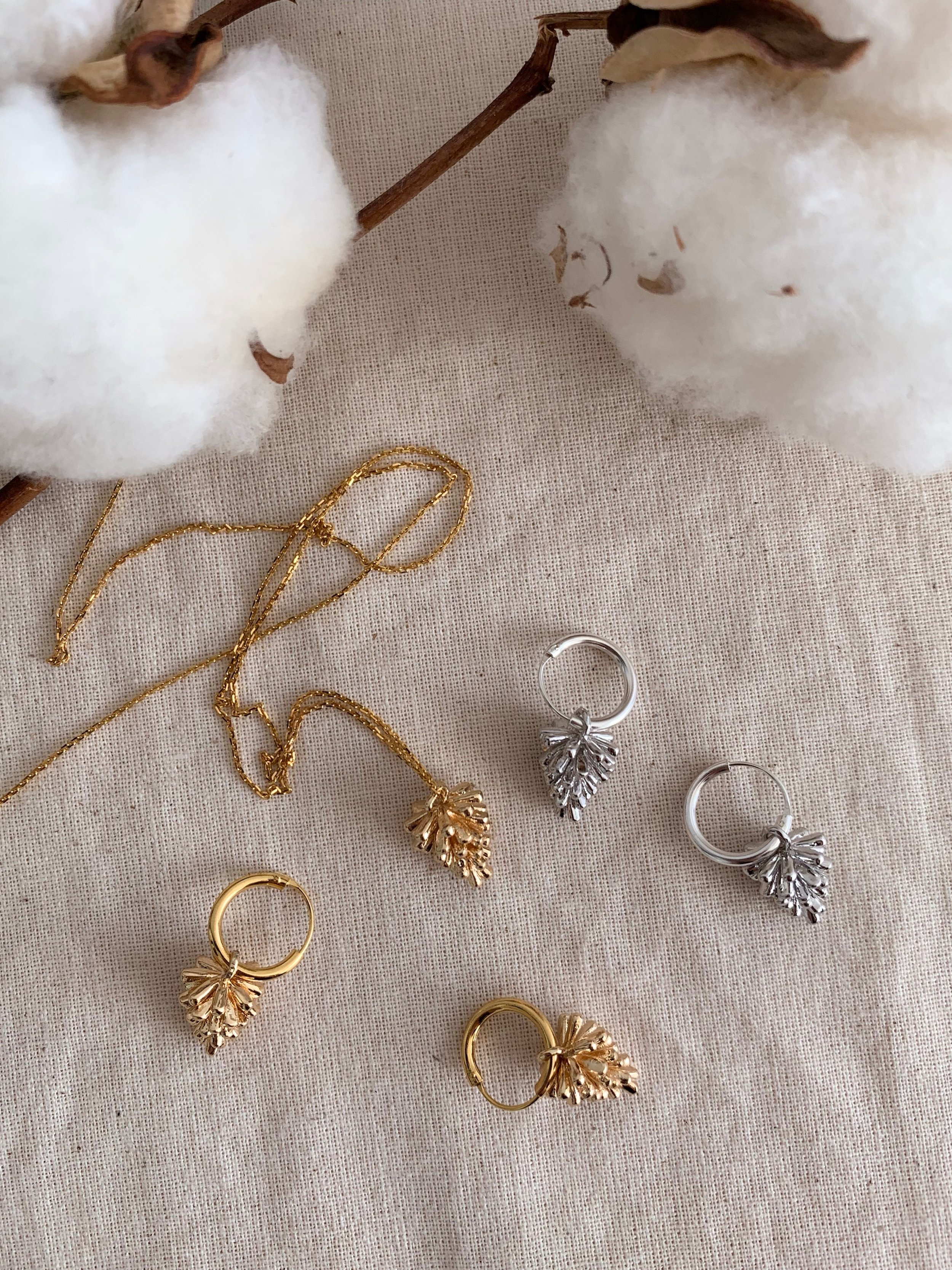 Hazel Pinecones in Gold and Silver