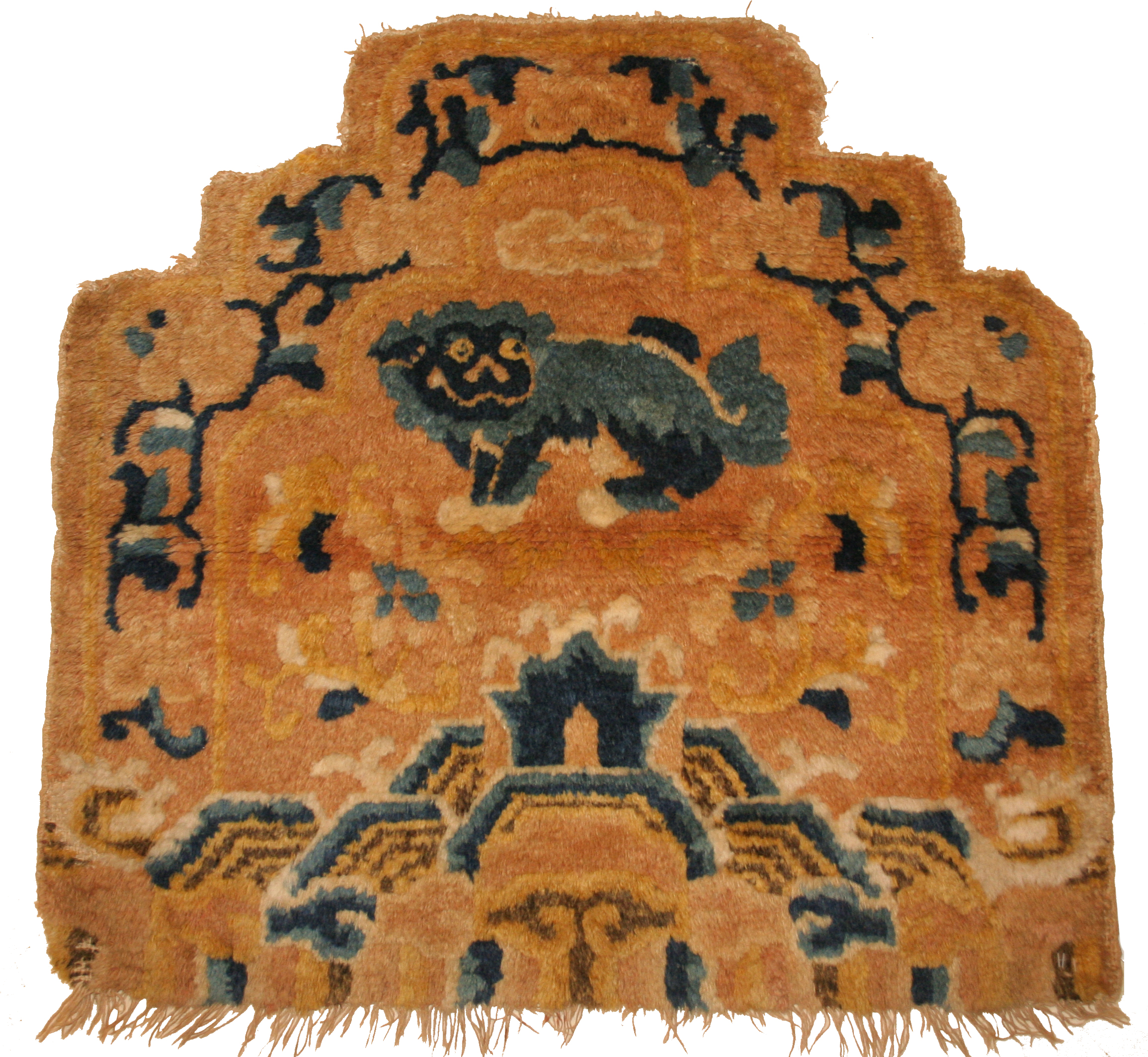 Throne back cover with lion dog