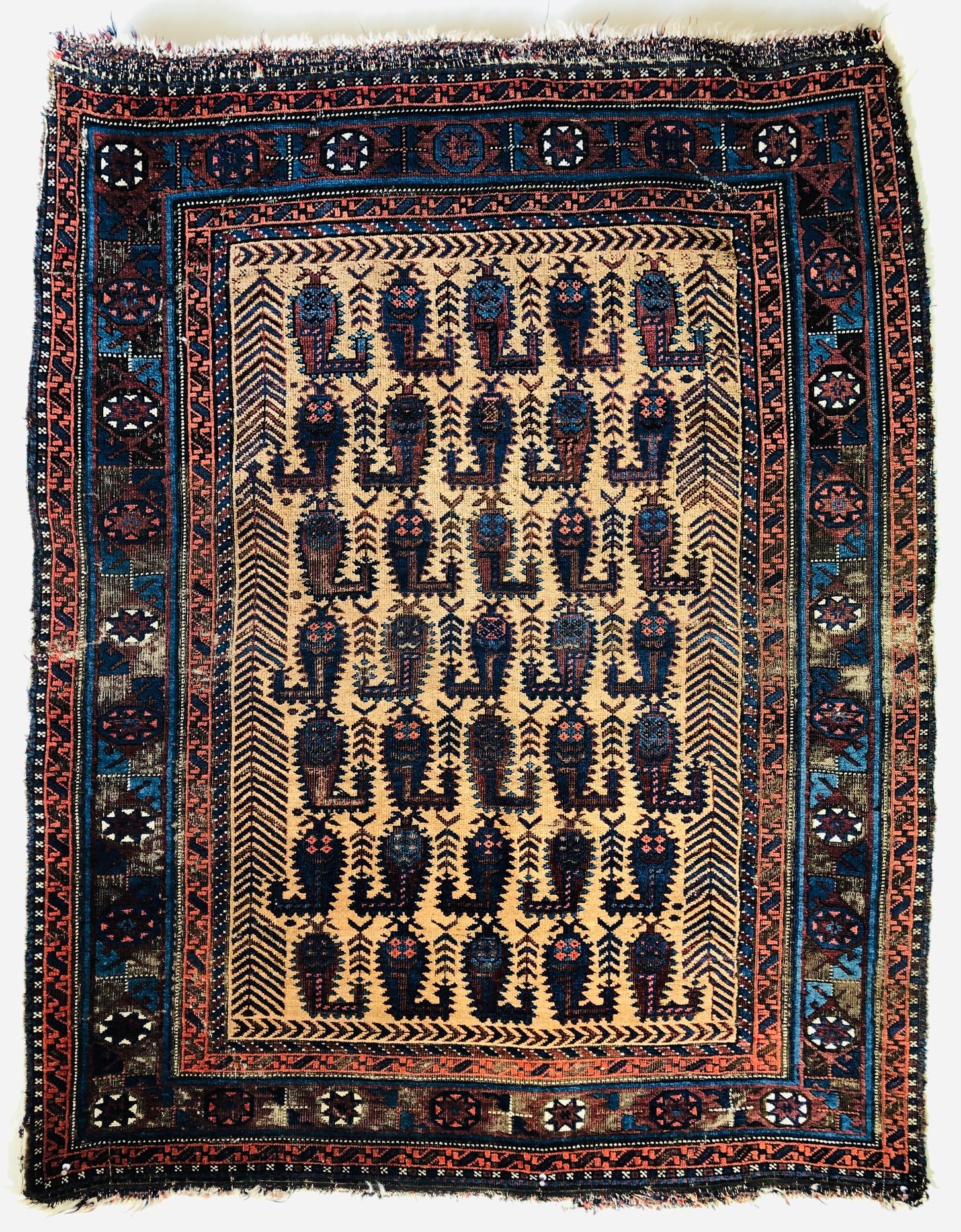 Baluch boteh rug camel ground antique