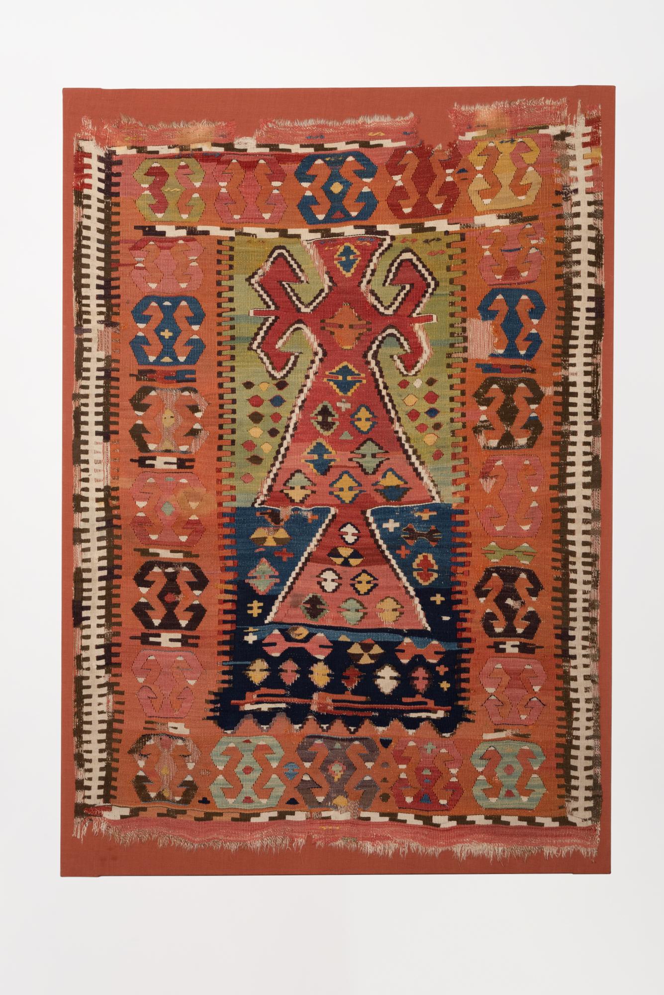 Woven wool prayer kilim from Cappadocia