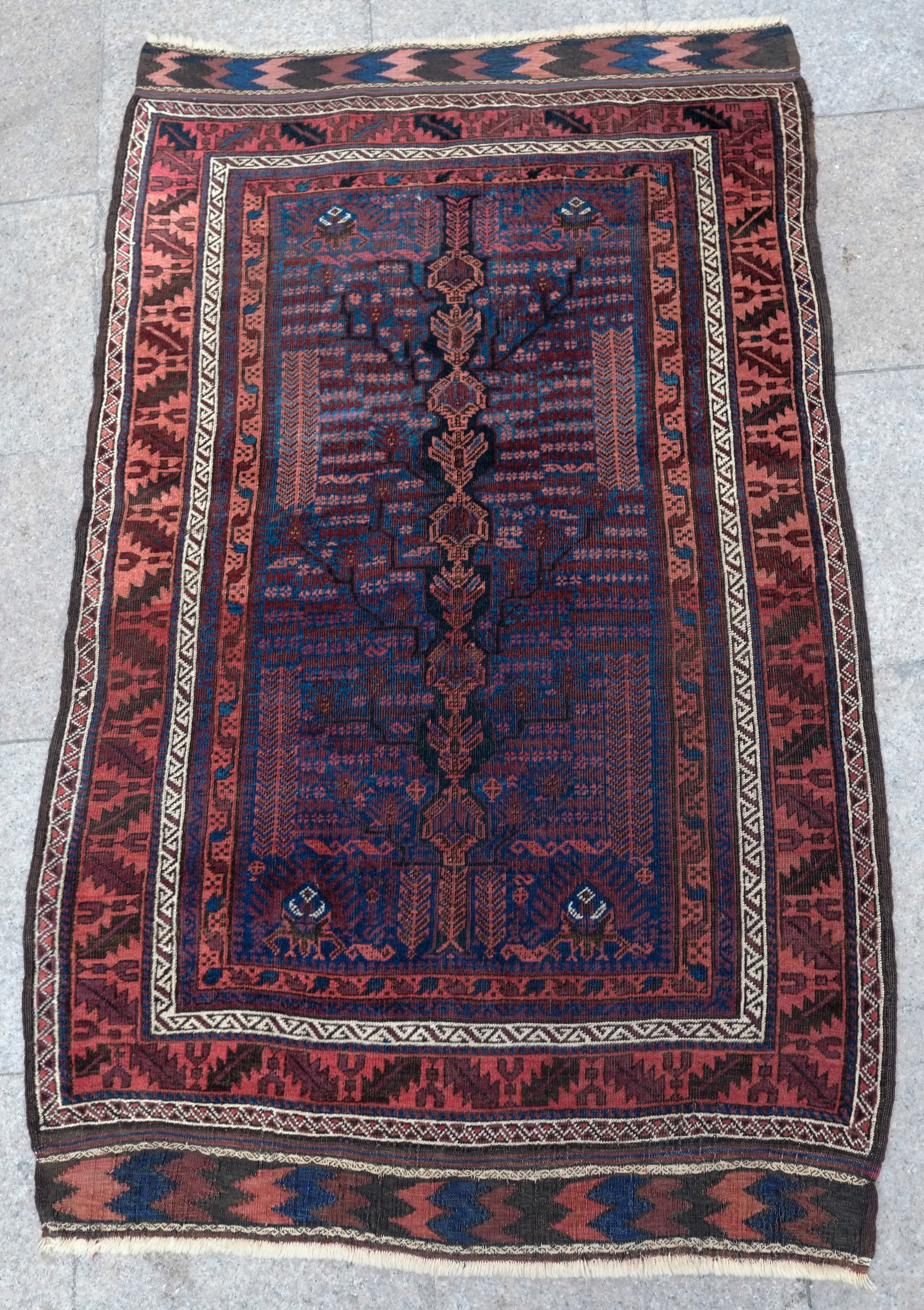 Antique Baluch tree of life rug