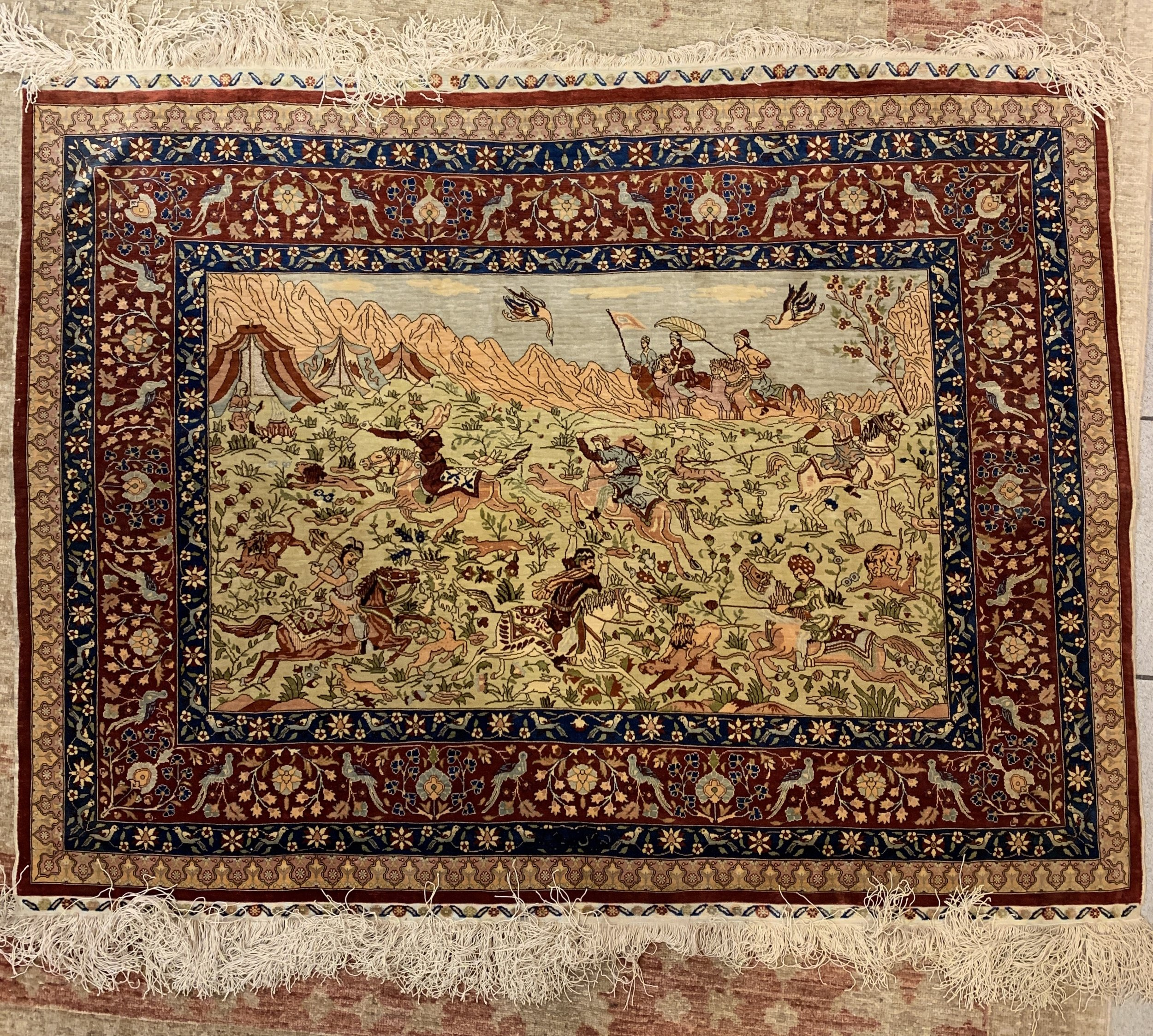 Turkish Hereke Silk rug