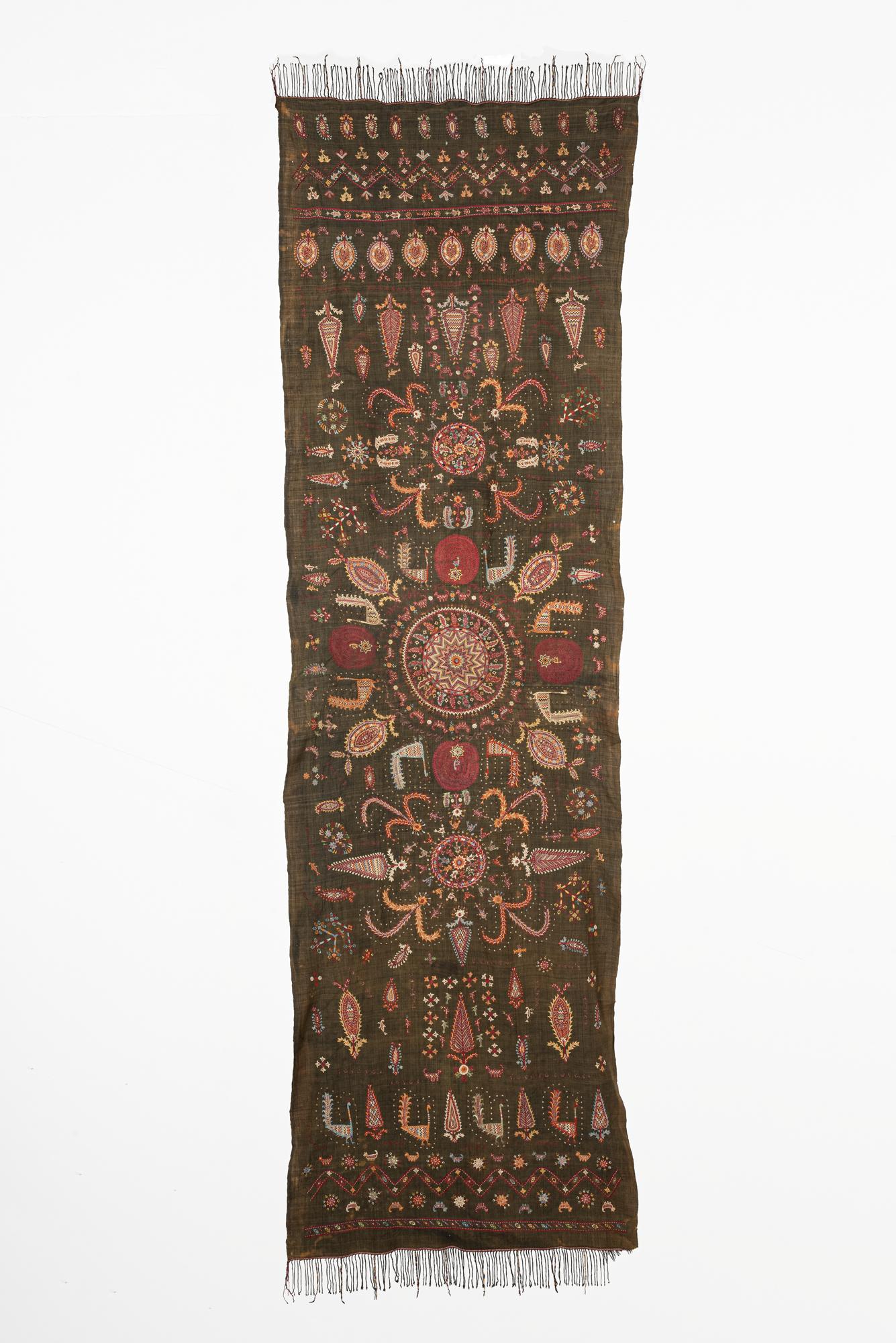 Embroidered silk wedding veil
