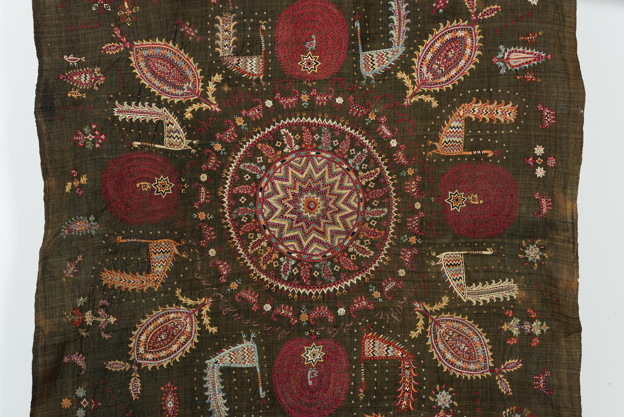 Detail of an embroidered silk wedding veil