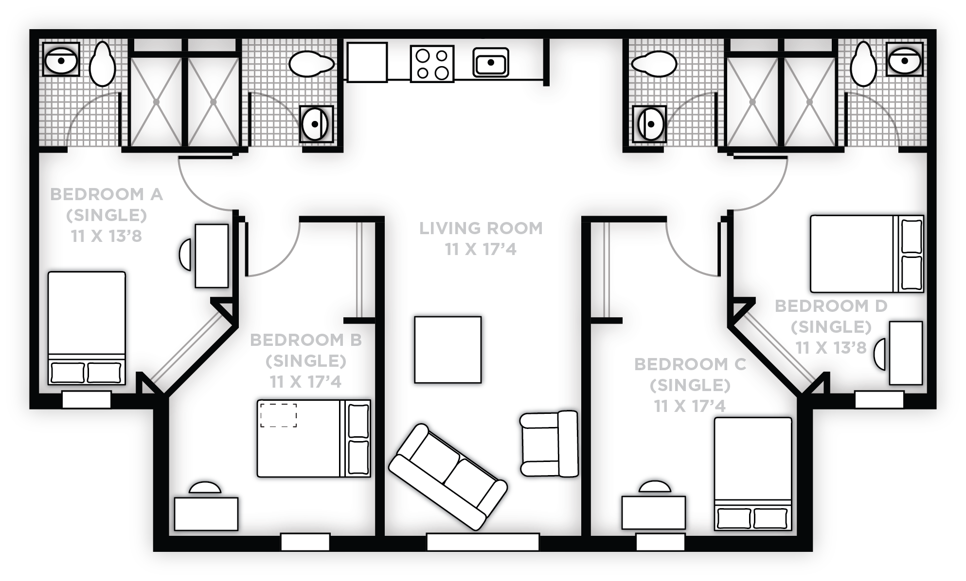 4 Bed/4 Bath - Handicap accessible rooms are available in this apartment layout.
