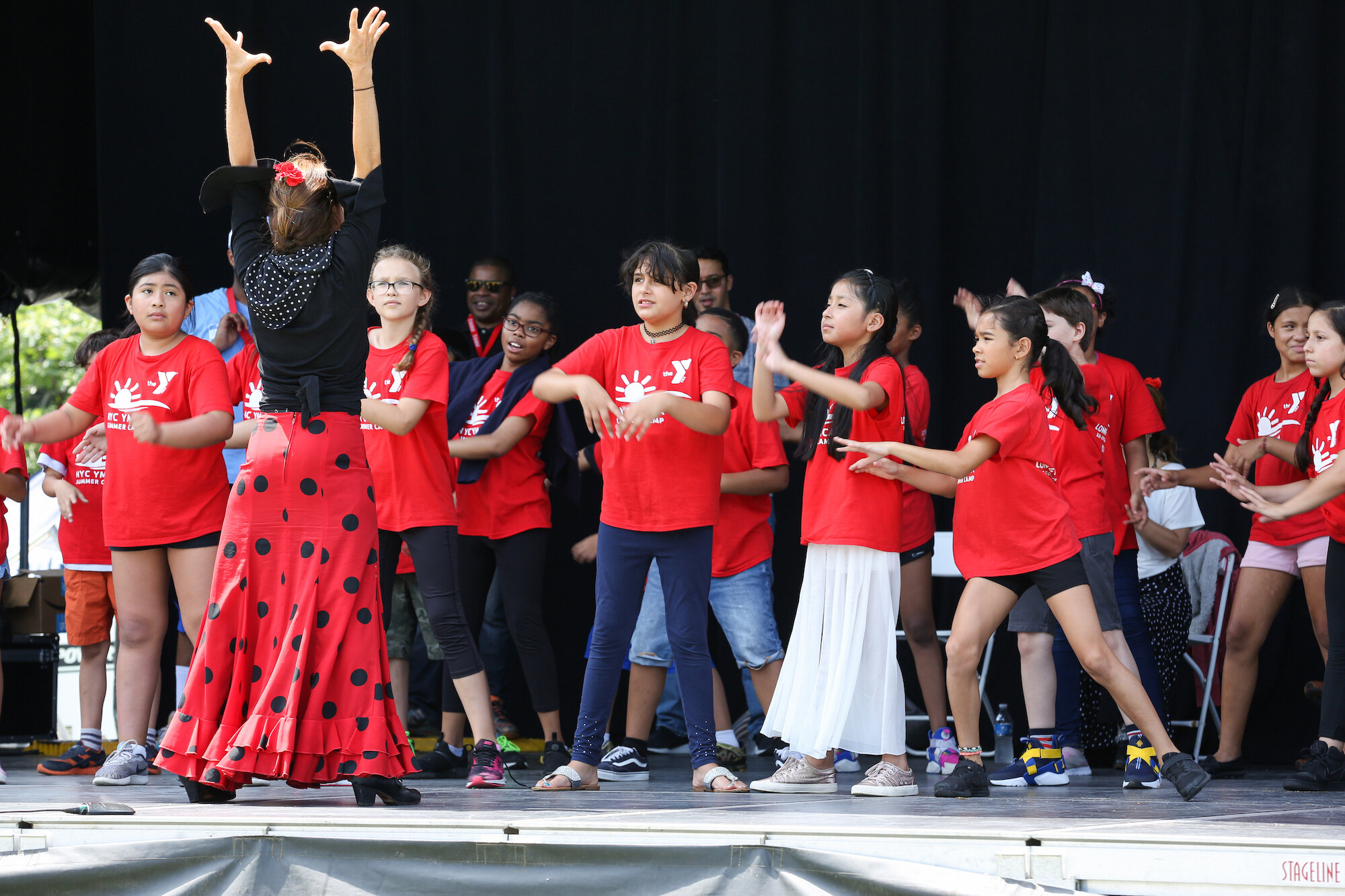 At Queensbridge Park, students learned flamenco on stage.