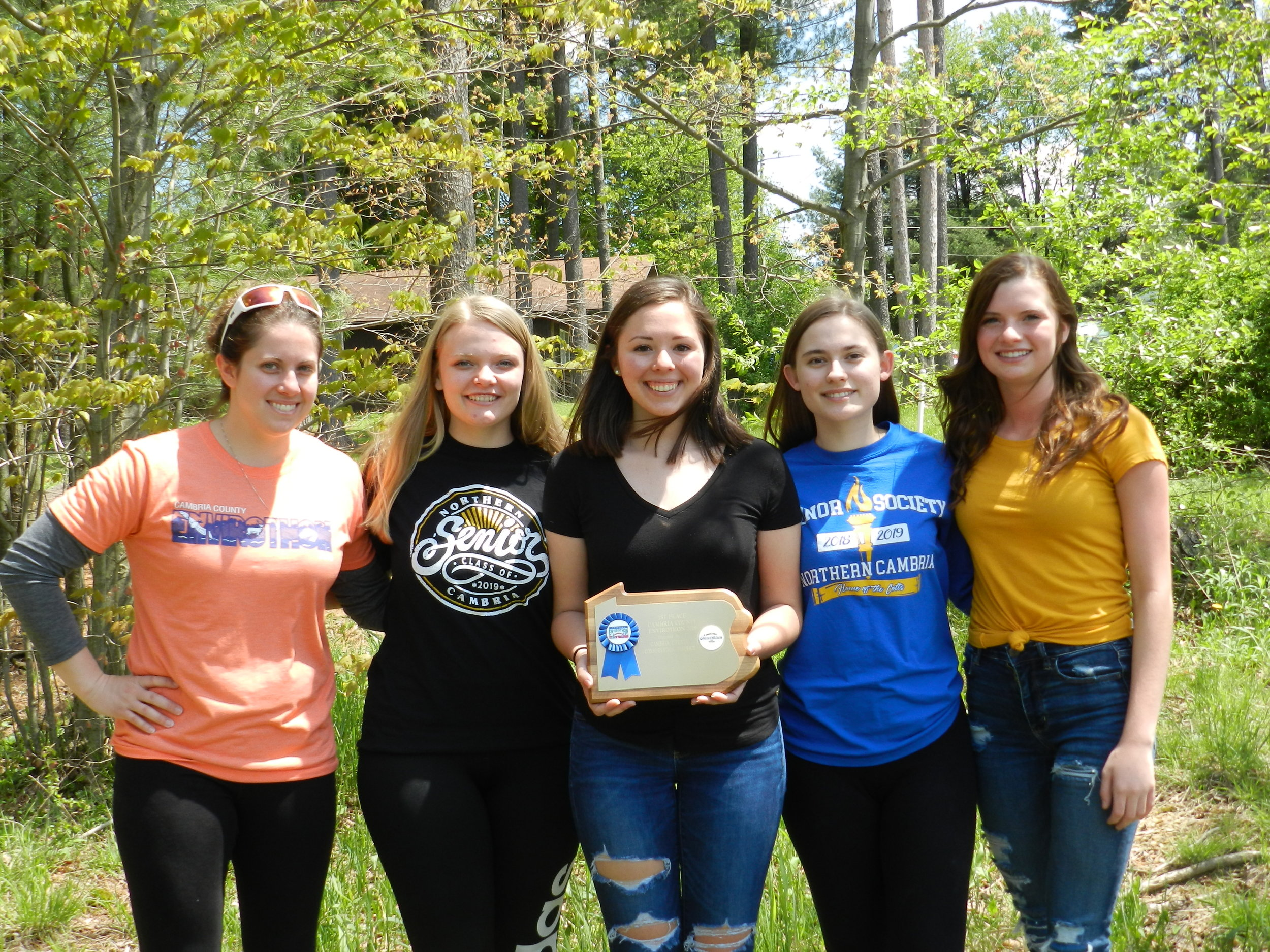 1st Place: Northern Cambria High School   Coach, Marybeth Kerr, Paige Dumm, Taylor Sherry, Danielle Nealen, Abby Strong, Absent from photo: Zach Malicky