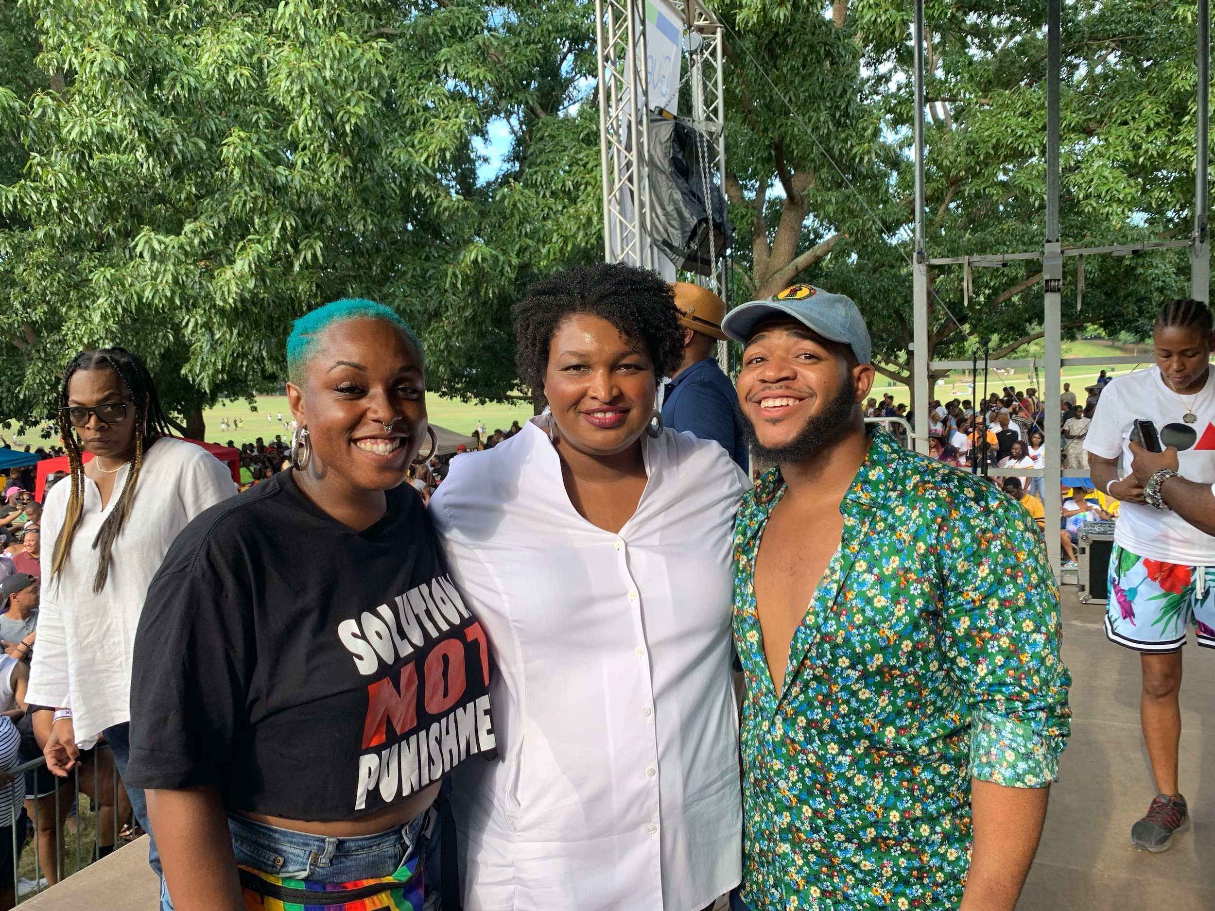 Our Director, Toni-Michelle Williams (left) with Stacey Abrams (middle) and Devin Barrington Ward (right).