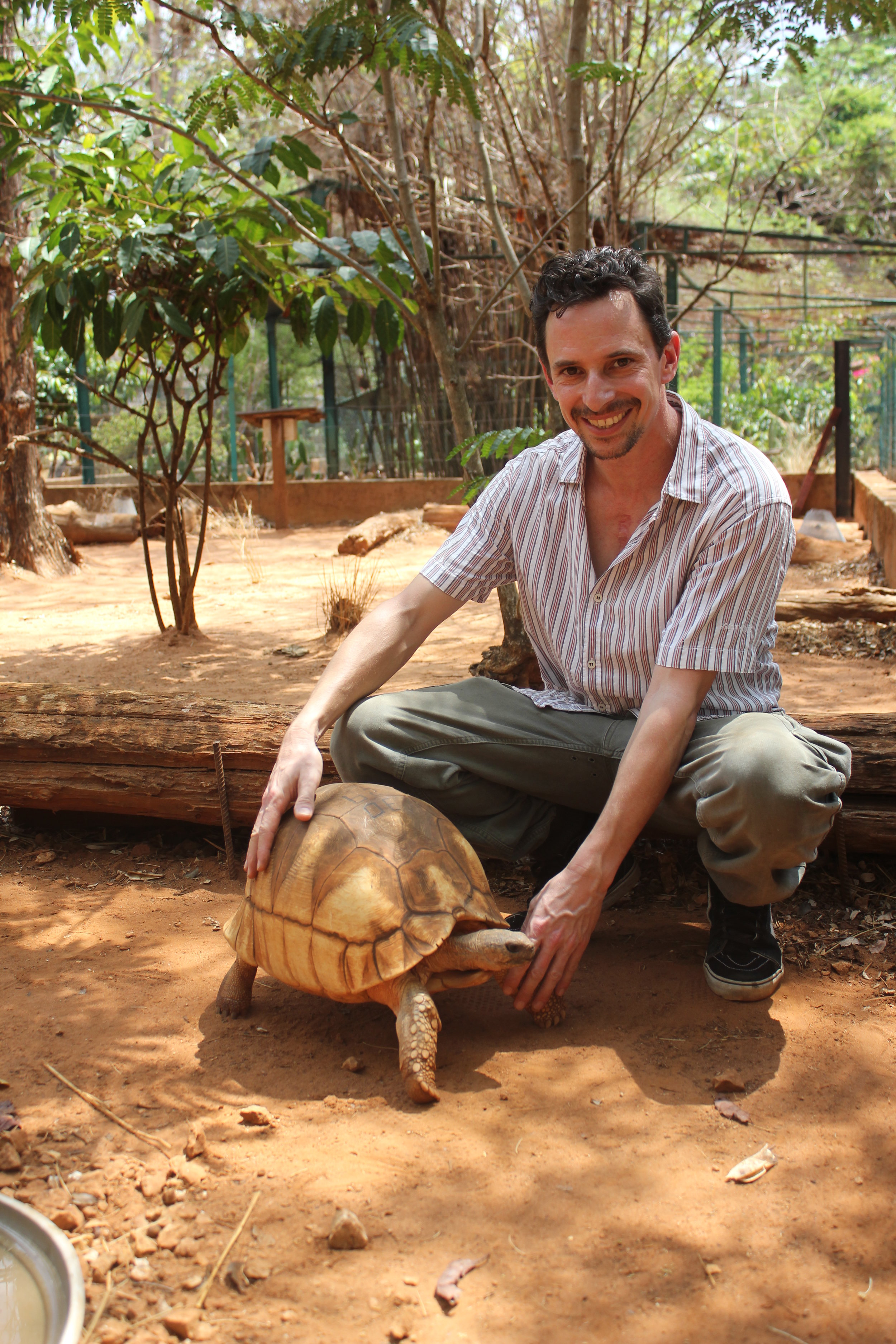 Jersey Zoo staff M Goetz with ploughshare in Madagascar.JPG