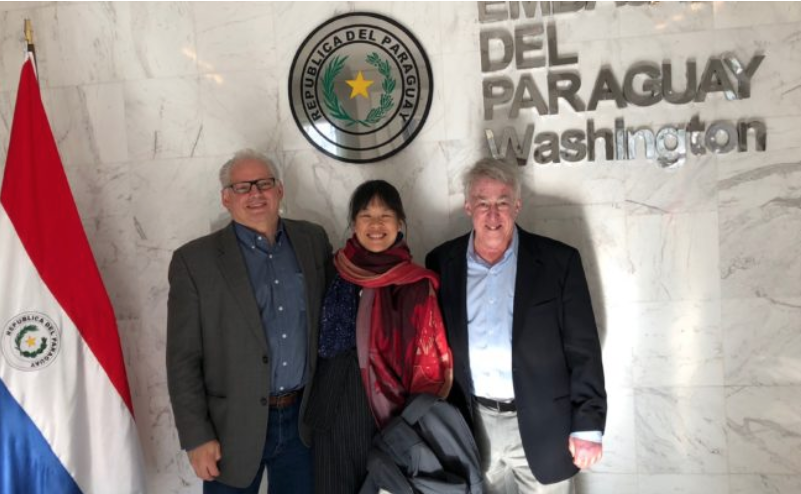 AUI and AWB meet at the Embassy of Paraguay. Pictured from left to right: Tim Spuck, AUI Director of EPE; Zoe Chee, AWB Program Manager; and Mike Simmons, AWB President.