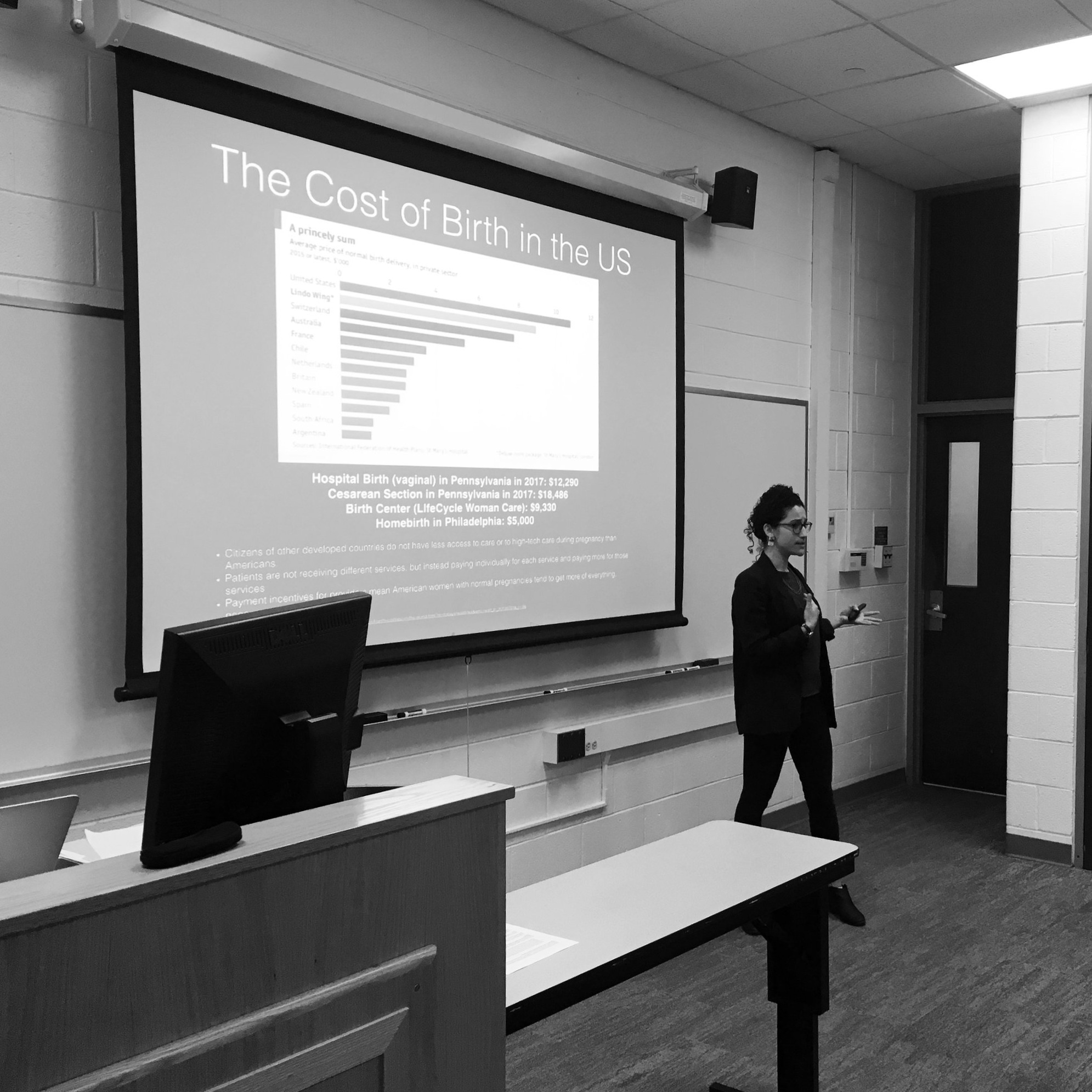 "Guest lecturer at Temple University School of Public Health. Giving a talk called ""Outsiders on the Inside: The Role of Doulas in a Broken Maternity Care System"", March 2019."