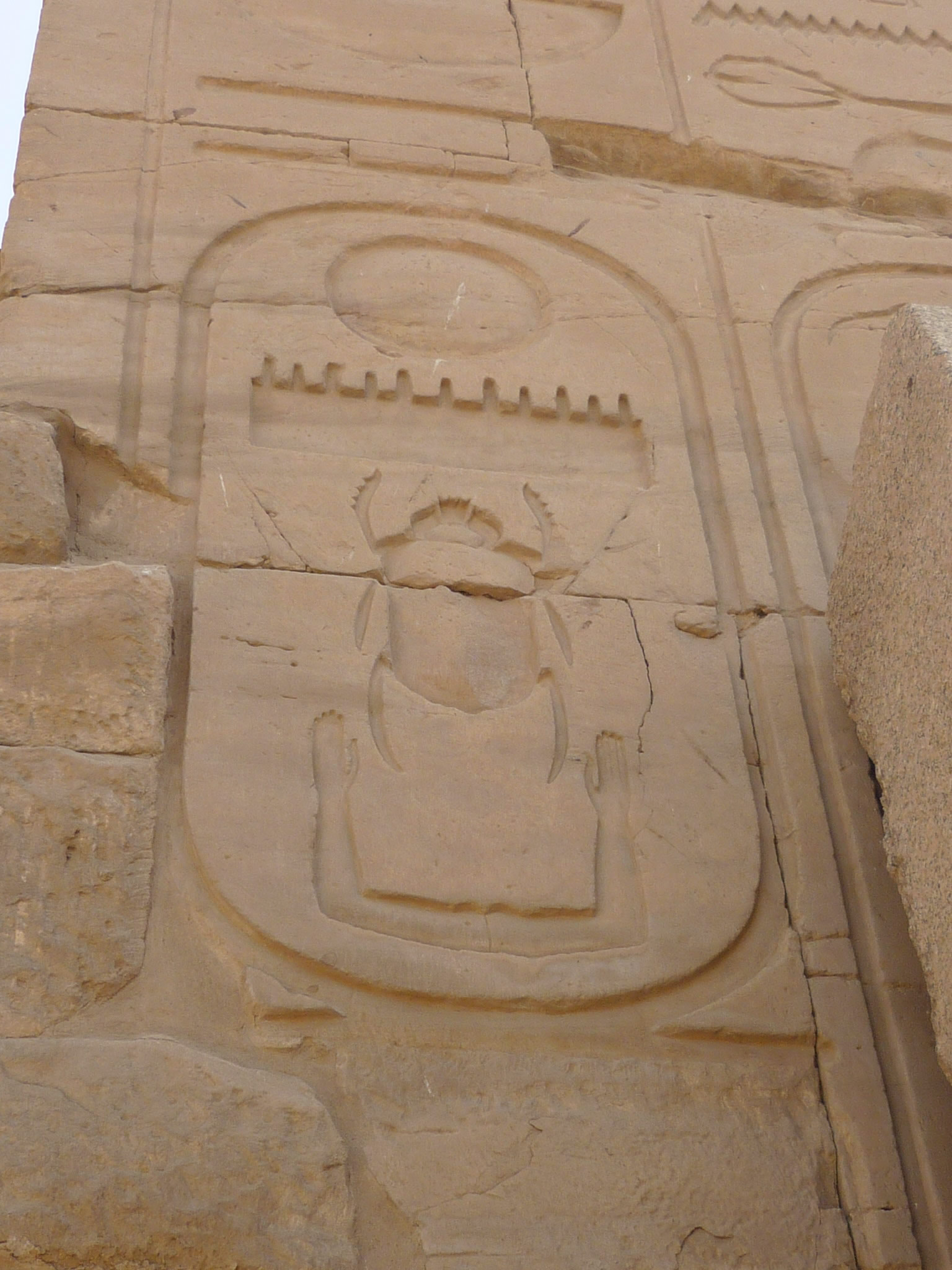 Wall relief with the cartouche of Thutmosis III on eighth pylon, Karnak temple of Amun-Ra, Egypt. I, Rémih, CC BY-SA 3.0