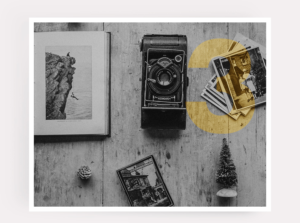 Submit photographs and memorabilia. - Send us the images or files that you want incorporated into your Story Album, and our graphic designers will implement them into the text.