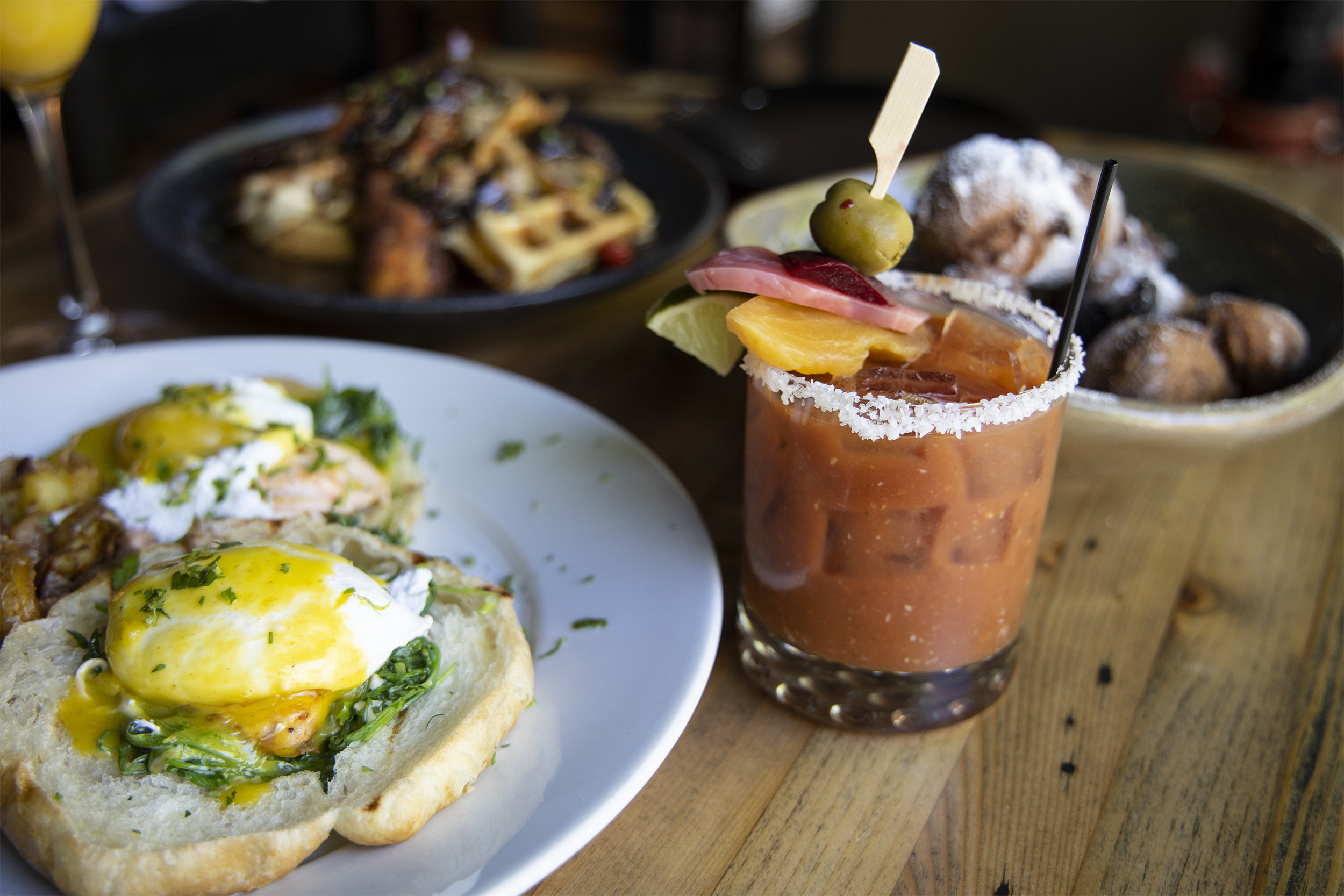 Bloody Mary, Chicken and Waffles, Eggs Benedict and more.