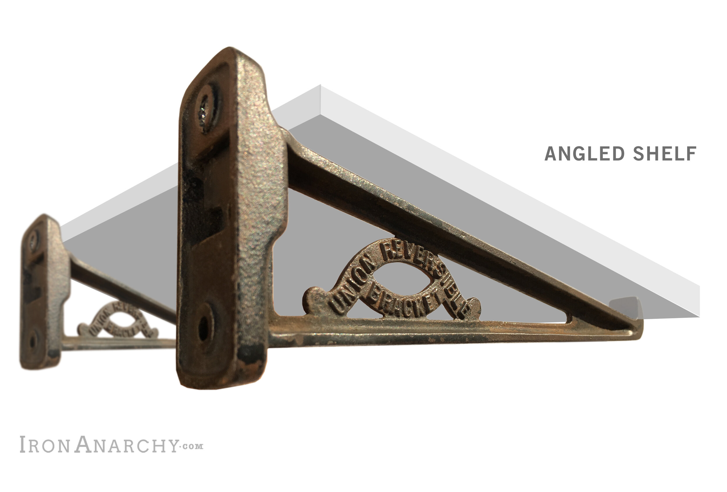 Antique Industrial Angled Wall Shelf Brackets