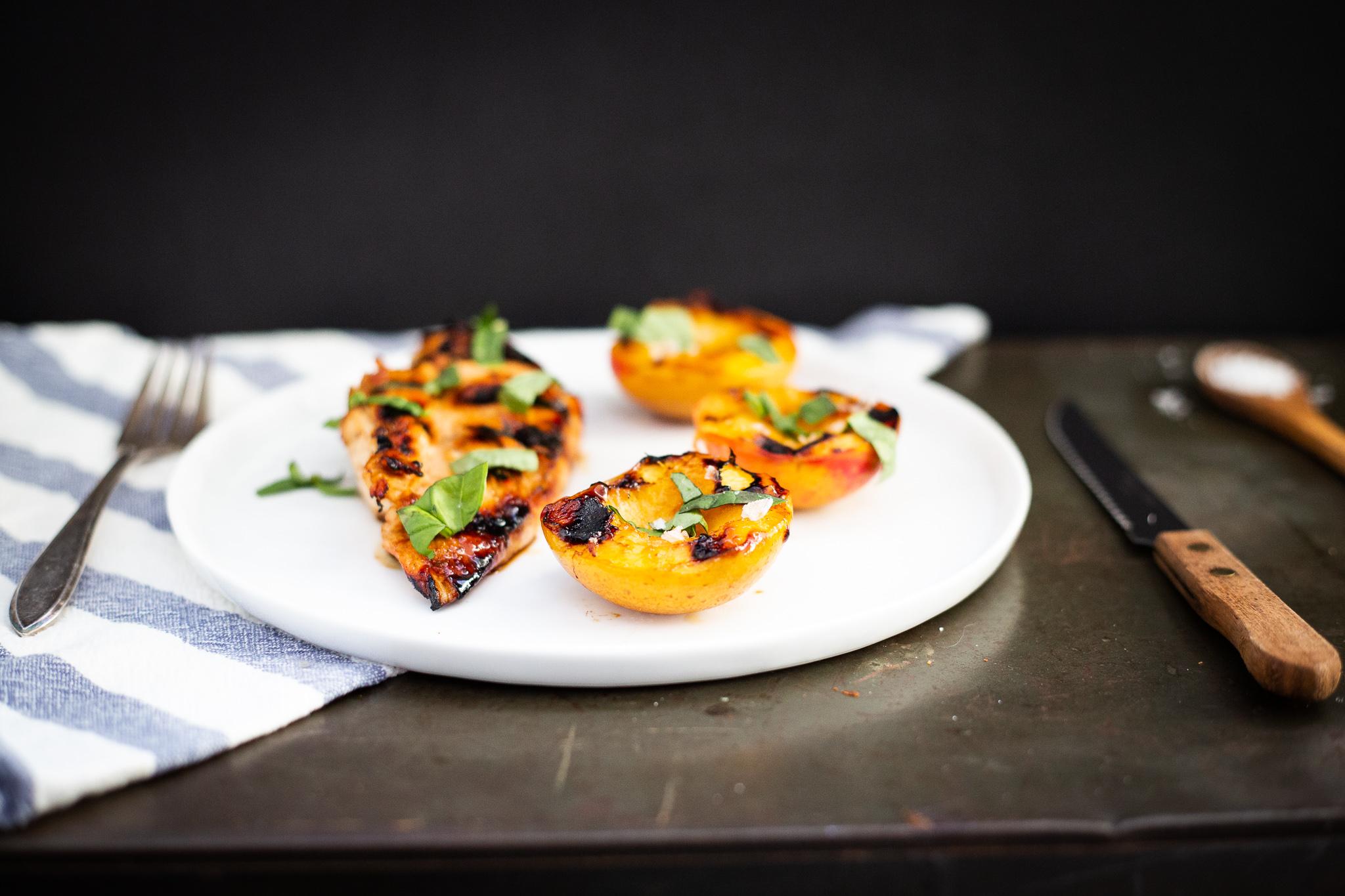 Easy Summer Dinner: Honey Glazed Chicken with Grilled Nectarines