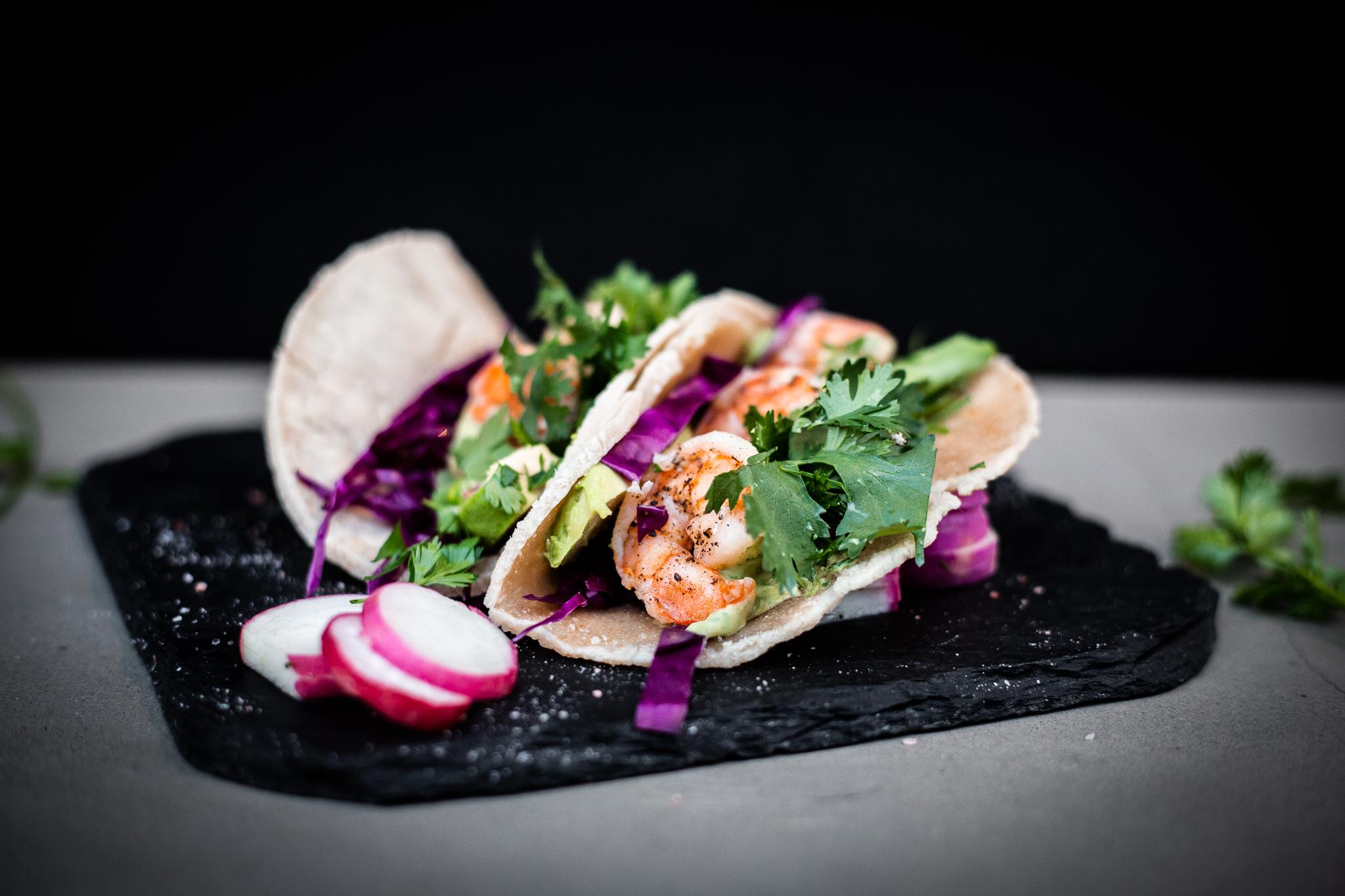 Shrimp Tacos with Creamy Avocado Sauce; Cassava Tortillas