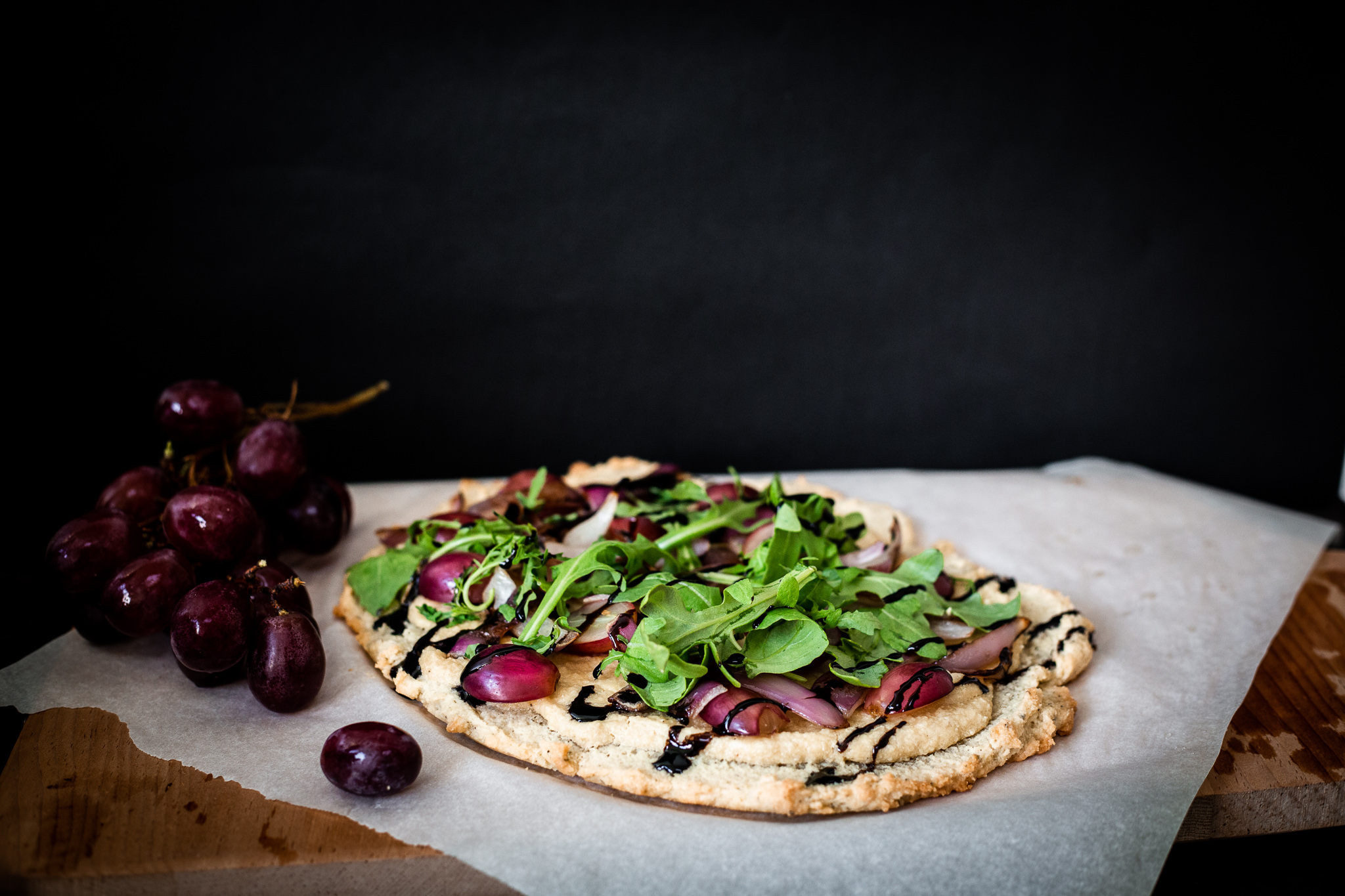 Paleo Cashew Cheese, Grape and Arugula Pizza