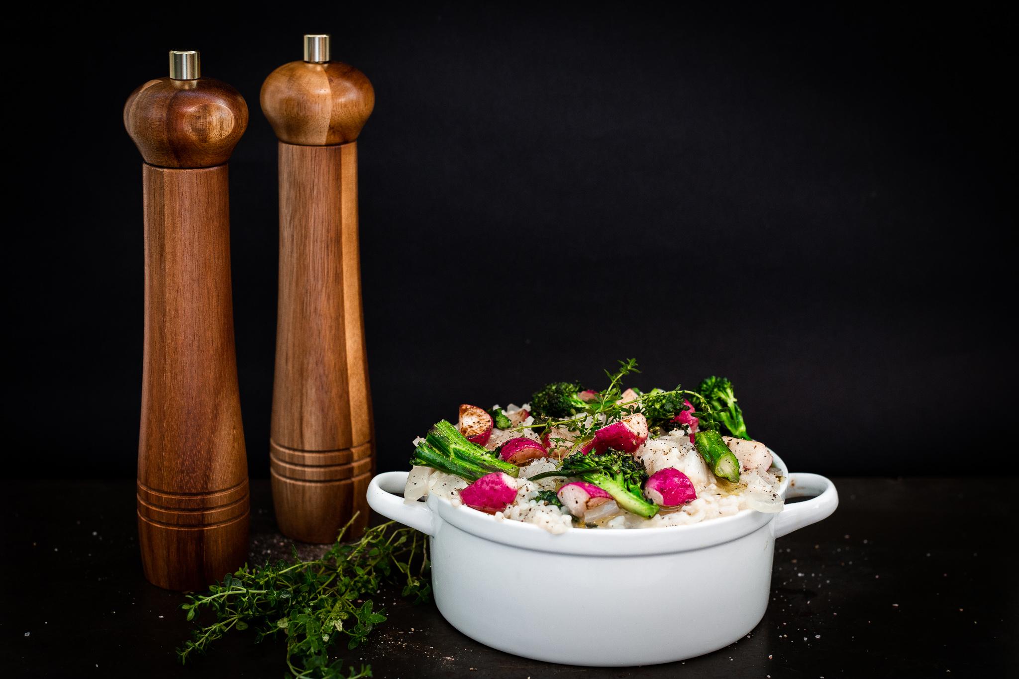 Winnow_ Creamy Vegan Risotto With Radish and Broccolini