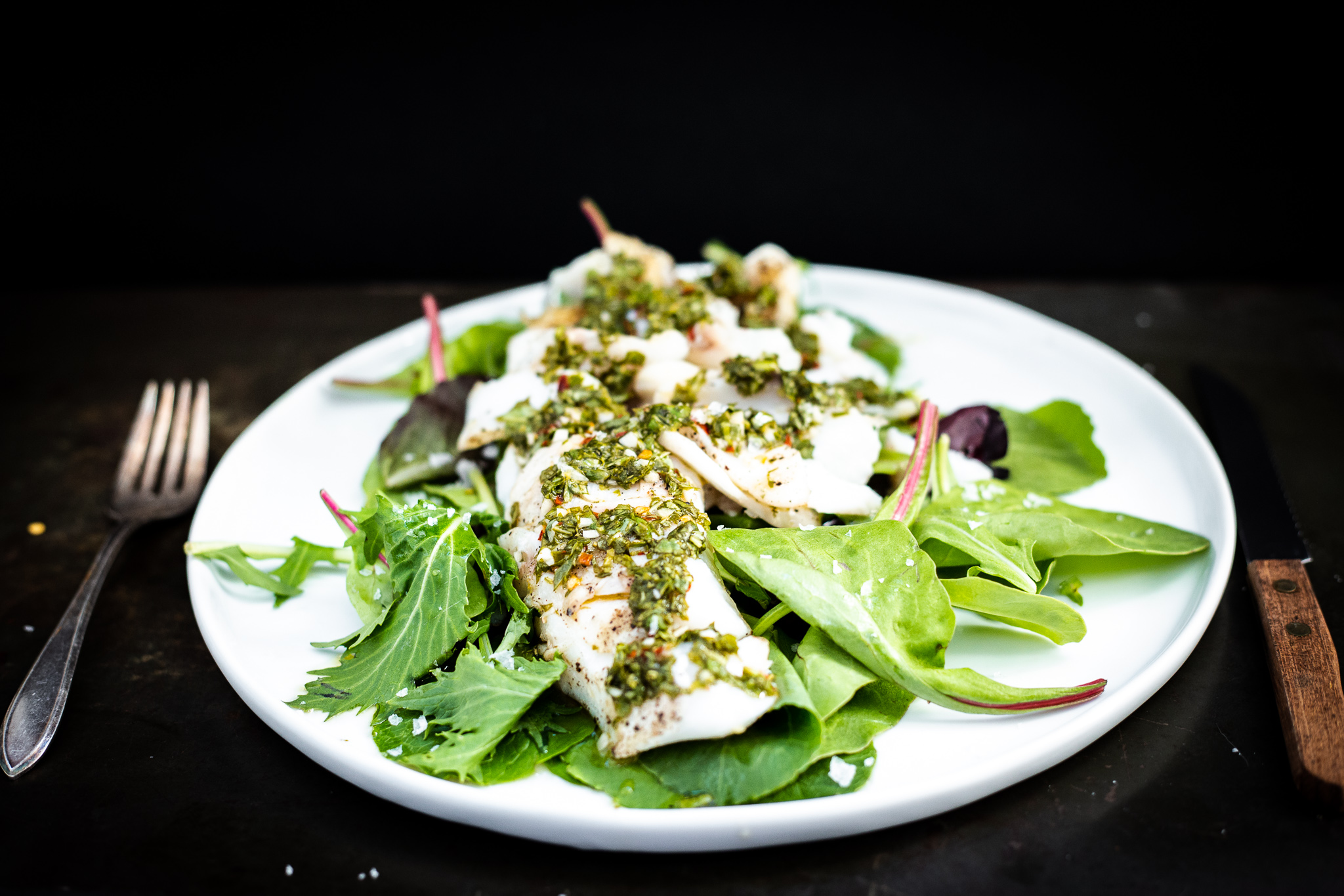 Grilled Cod with Chimichurri Sauce