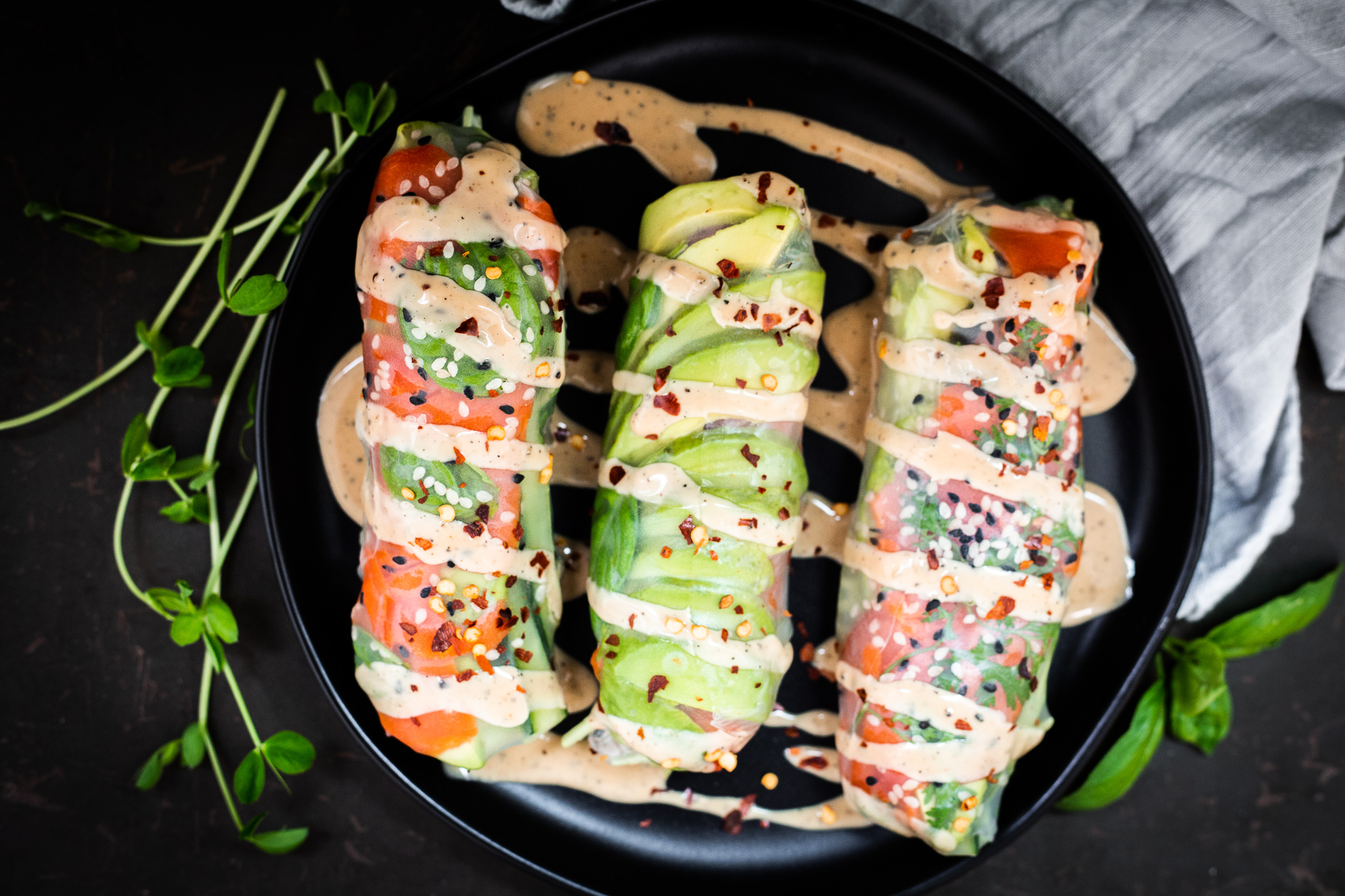 Smoked Salmon Summer Rolls/ Spring Rolls With Sesame Dipping Sauce