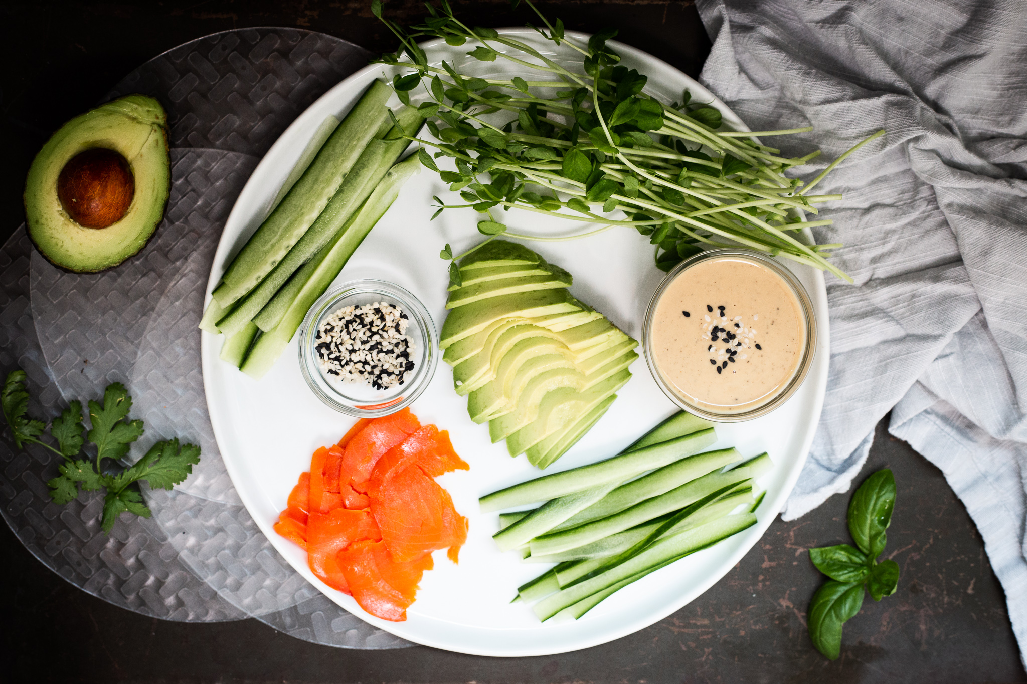 Smoked Salmon Summer Rolls With Sesame Dipping Sauce