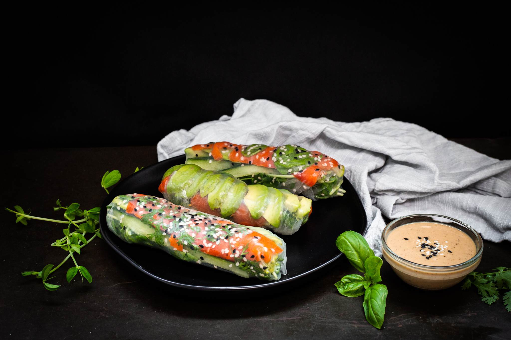Smoked Salmon Summer Rolls / Spring Rolls With Sesame Dipping Sauce