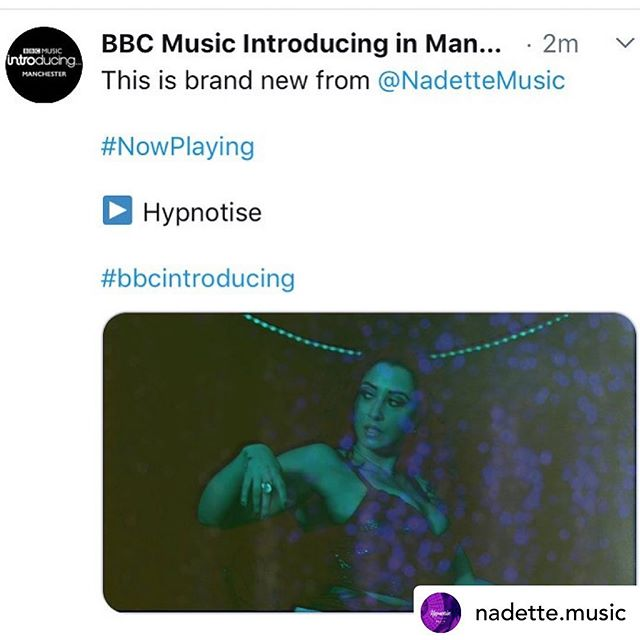 Thankyou @introducingmcr @natalieevemcr @michellelhussey6 🙏🏻❤️ Posted @withrepost • @nadette.music 🍾🥂👏🏽🎶 @introducingmcr  HYPNOTISE is out now link in my bio 😍 (Available to listen to the session on their website for the next 30 days)  Thank you so much!!! Prod by @riddleonline