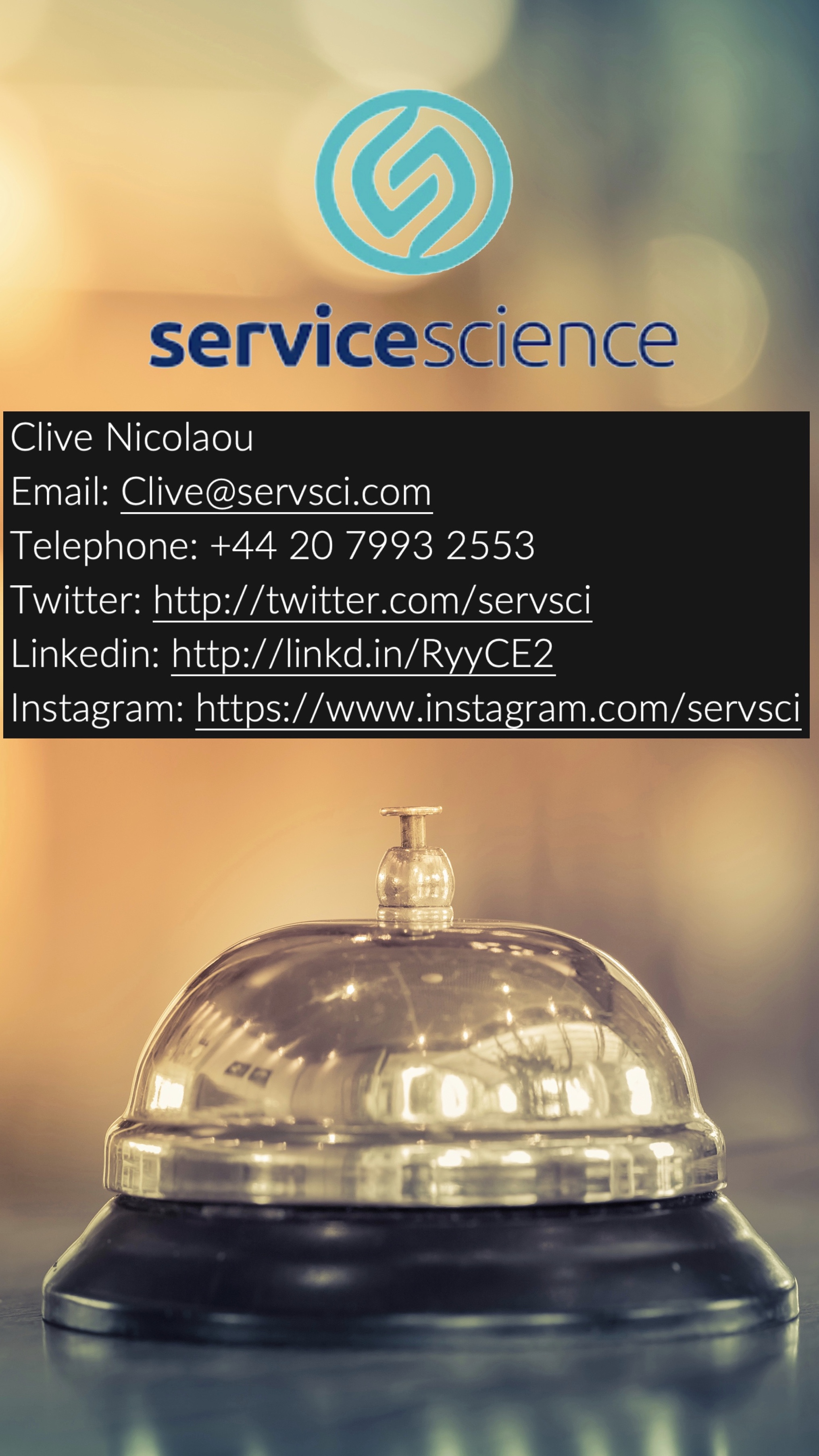 About Service Science - Bringing Insight and Expertise togetherService Science is a specialist market research agency focused on the hospitality, leisure and tourism sectors. We work with our clients to help them manage and improve the Customer Experience. We have four practice areas:Think Like Your Customers:Using behavioural science techniques we provide real insight to help understand and influence customer behaviourOnline Reputation Management:Through the monitoring and management of your Online Reputation we provide the means to increase loyalty and maintain your competitive edgeService Quality Measurement:Through mystery shopping, brand standards audits and survey tools you can deliver exceptional service that resonates with your customersEmployee Engagement:Our innovative approach ensures your teams are motivated and engaged so they will deliver service that sets you apartWe'll help you access meaningful insight into your customers and your people to improve the service you deliver. Get the equation right and you'll create the perfect chemistry for your business.