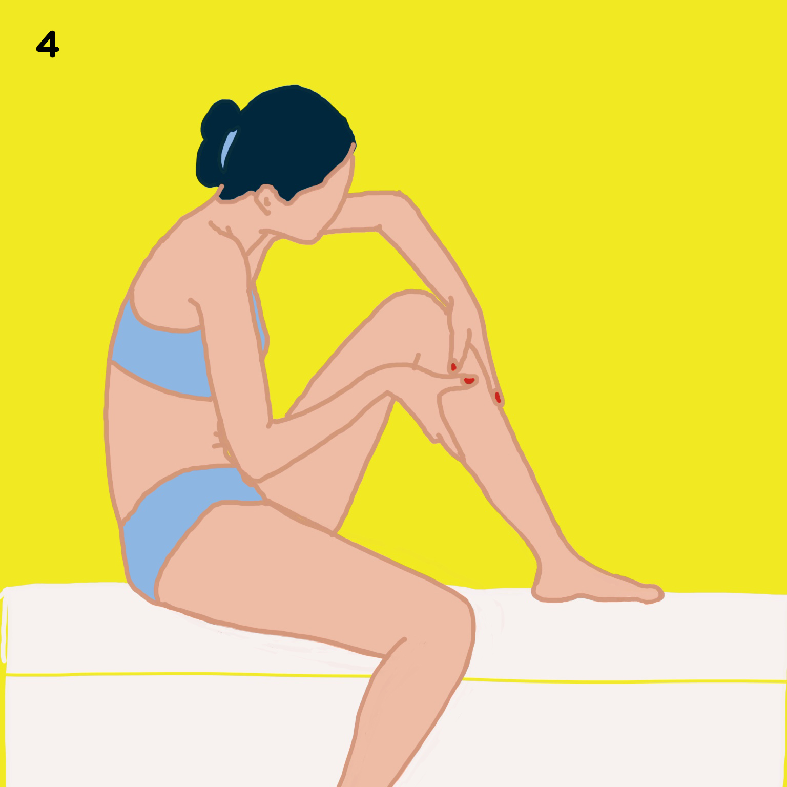 4. FEET, LEGS & BUTTOCKS   Beginning at your feet and working toward the middle of your body, use long strokes on the legs and circular strokes on the knees.  Tip 1: We like to place one foot on the rim of the bathtub or sink here.  Tip 2: we take our time massaging the plant of our feet (where loads of nerve endings concentrate), our ankles before moving our way up to the legs.  Tip 3: When getting to the thighs and buttocks, we do our anti-cellulite massage at the same time. Read:  How to say 'aurevoir' to your cellulite