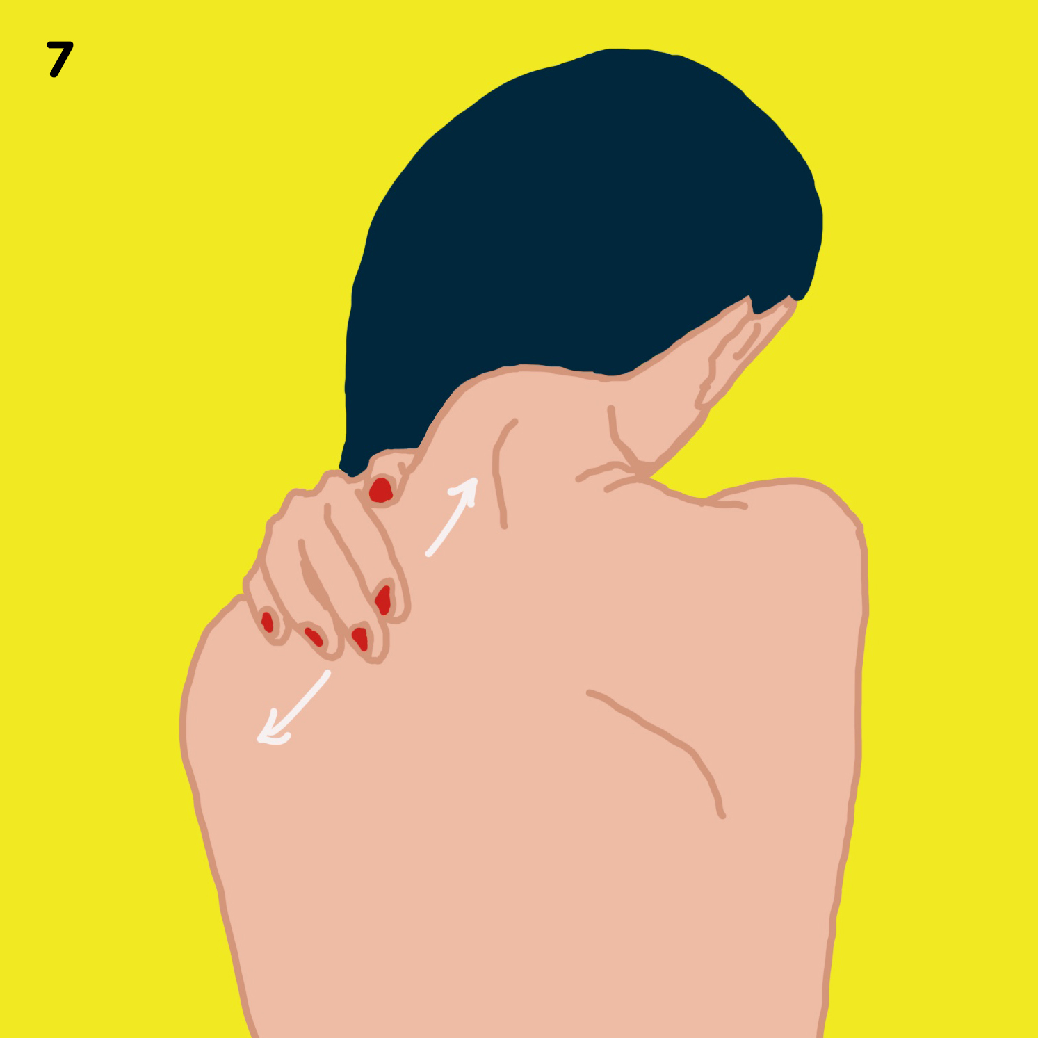 7. SHOULDERS   Now, place your right hand on your left shoulder at the base of your neck and squeeze the muscles outwards along your shoulder, applying as much pressure as it feels good. Repeat on the second side.
