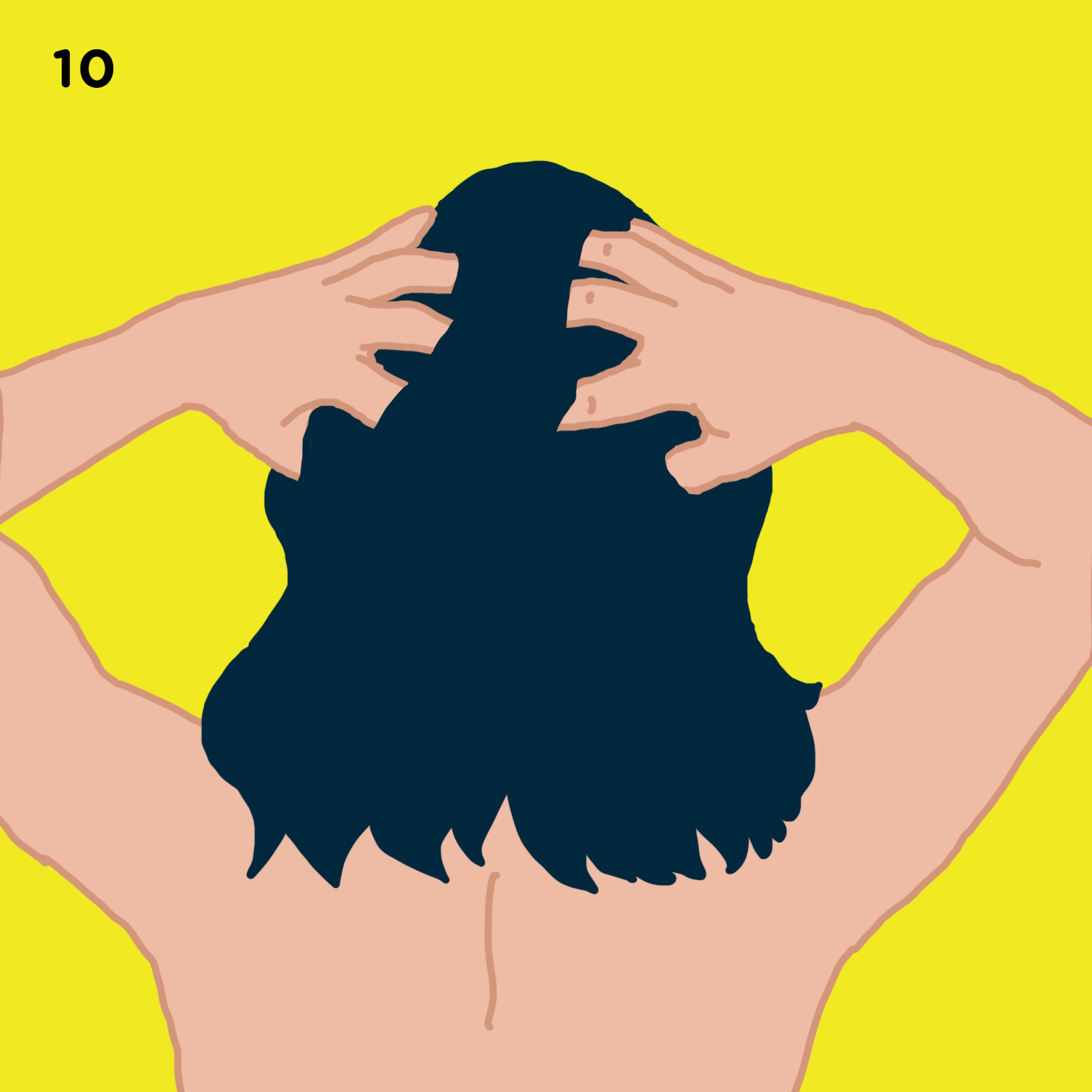 10. SCALP   On days when you plan to wash your hair, massage your scalp by a) moving the pads of your fingers in a circular motion; b) while keeping your knuckles in contact with your scalp, grab large sections of hair in your hand and then gently pull on the hair, and release - do this over your entire head and; c) lastly, with your fingers, locate the dimples in your skull, just behind the top of your ears, apply pressure to the dimples for a few seconds, then release. Scalp massage increases blood circulation at the root of the hair, promoting healthy hair growth and can also get rid of dandruff.