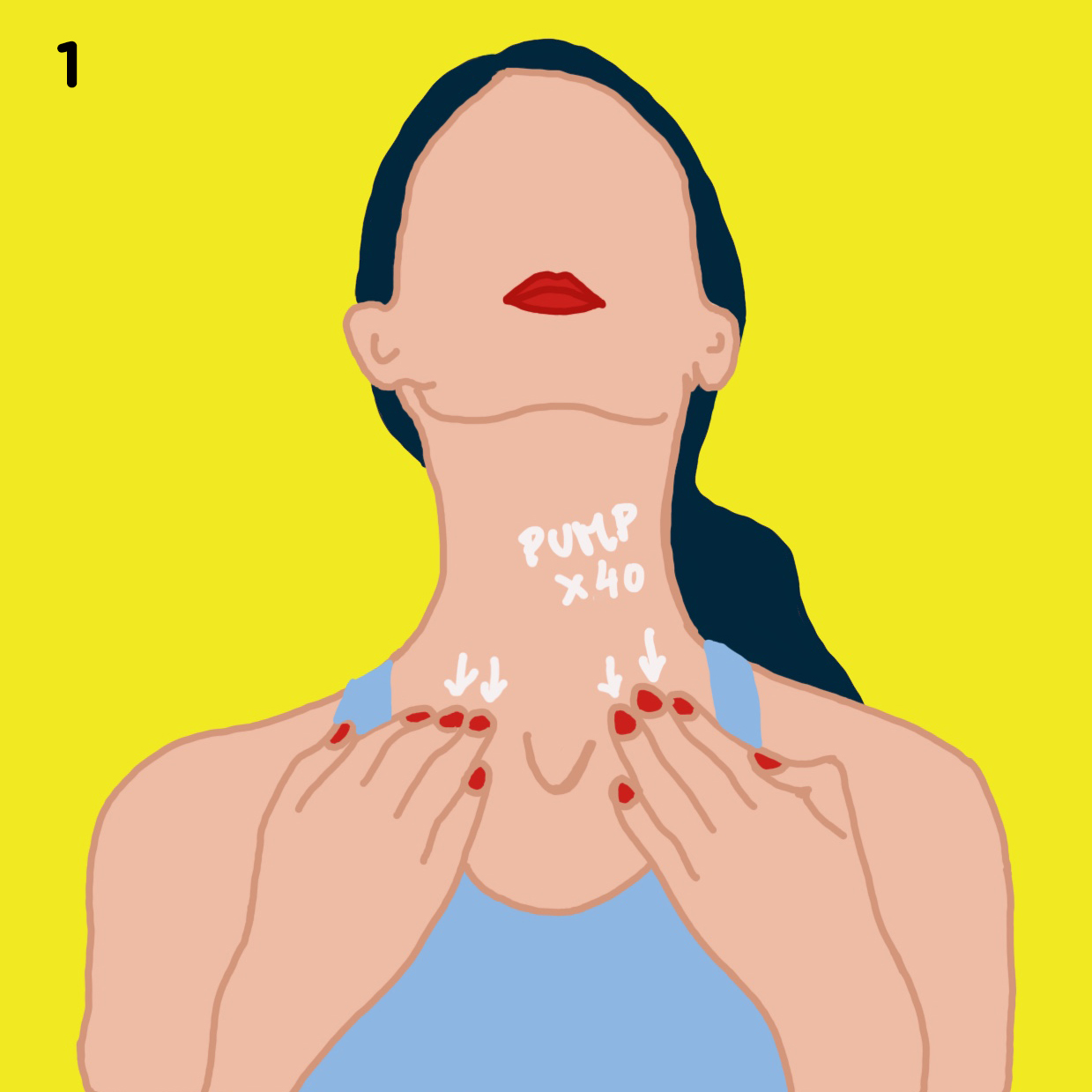 1. START AT THE BASE OF YOUR NECK   Apply & rub any face oil into the palms of your hands. Now place your 3 middle fingers in the soft tissue right above each side of your collar bone, right where your neck and your color bone meet, and slowly pump 40 times. Again, don't press hard or go too quickly here, it's a soft practice.