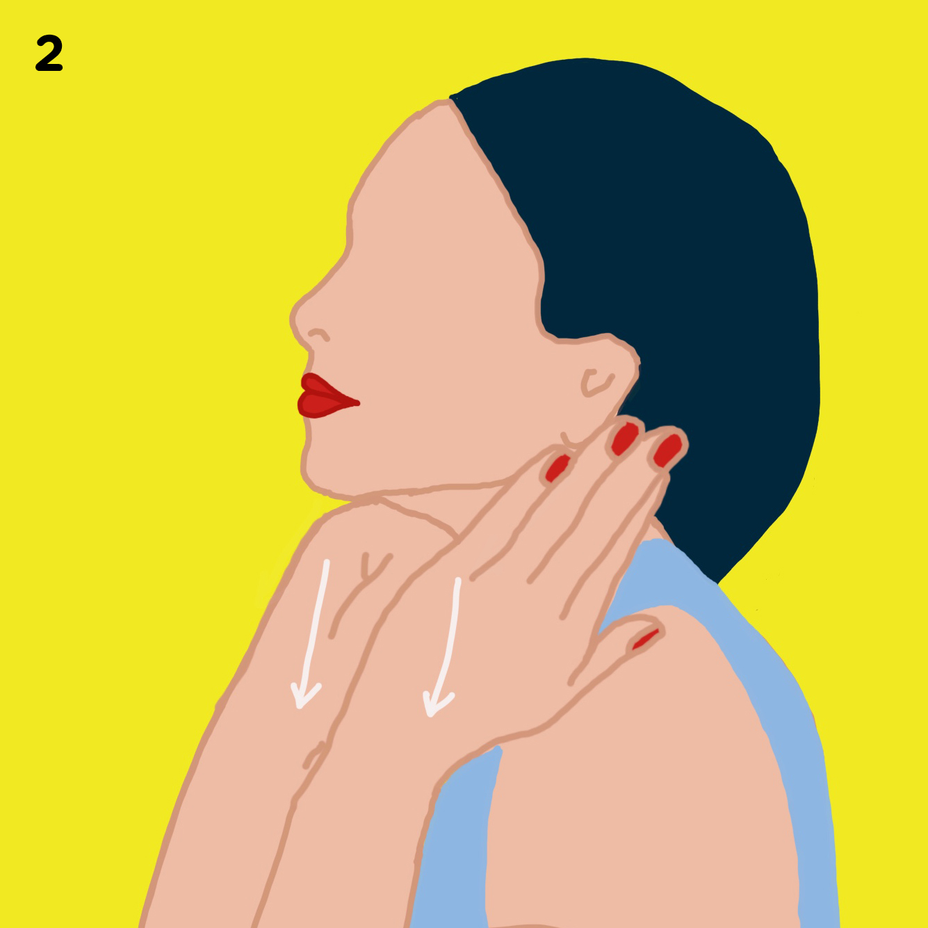 2. UNDERNEATH YOUR EARS   Now place the flat part of your fingers and top of palm underneath the ears and massage by pumping and pulling down slowing. You want to do this 5 times.