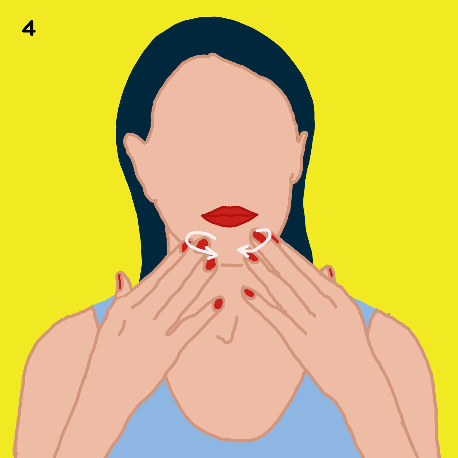 4. YOUR CHIN   Move to your chin and massage with both hands, using your 3 middle fingers. You have tons of lymph nodes right there so if you break out here a lot, you're going to want to do this massage in particular because this will help clear up those breakouts.